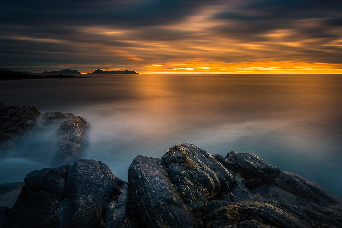 norway,rock,sunset,sea,coast,mood, Tomek Orylski