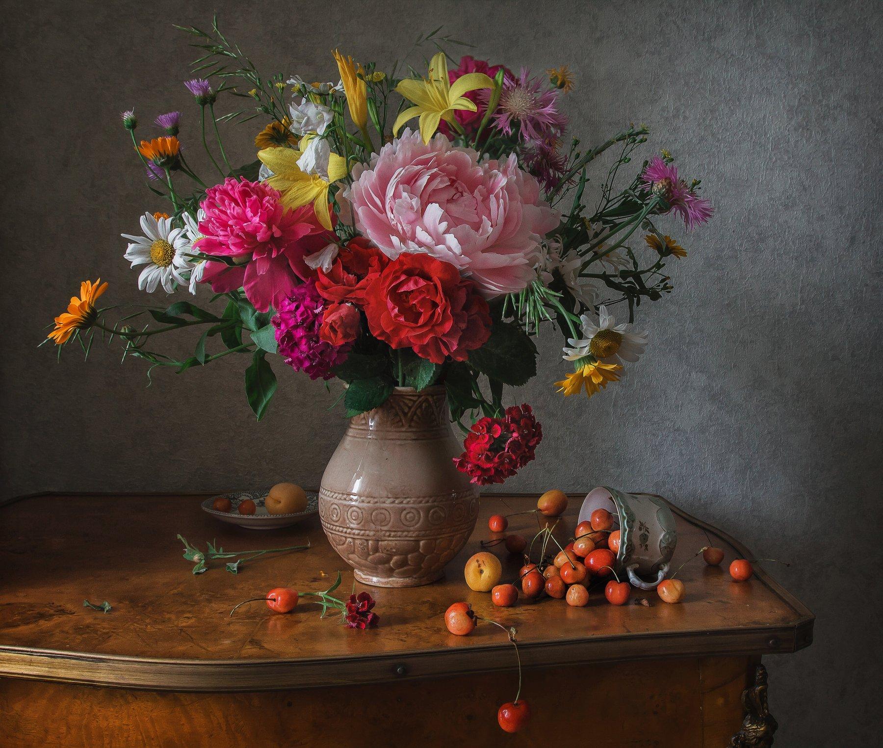 натюрморт, фарфор, цветы, ягода, черешня, Анна Петина