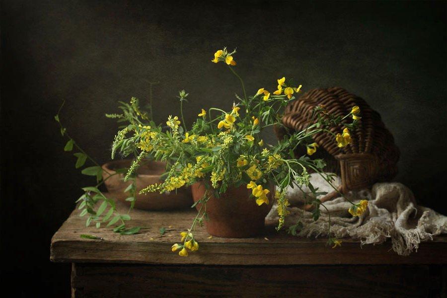 полевые цветы, корзинка, чашка, льненая ткань, плошка, Рябикова-Багузова Галина