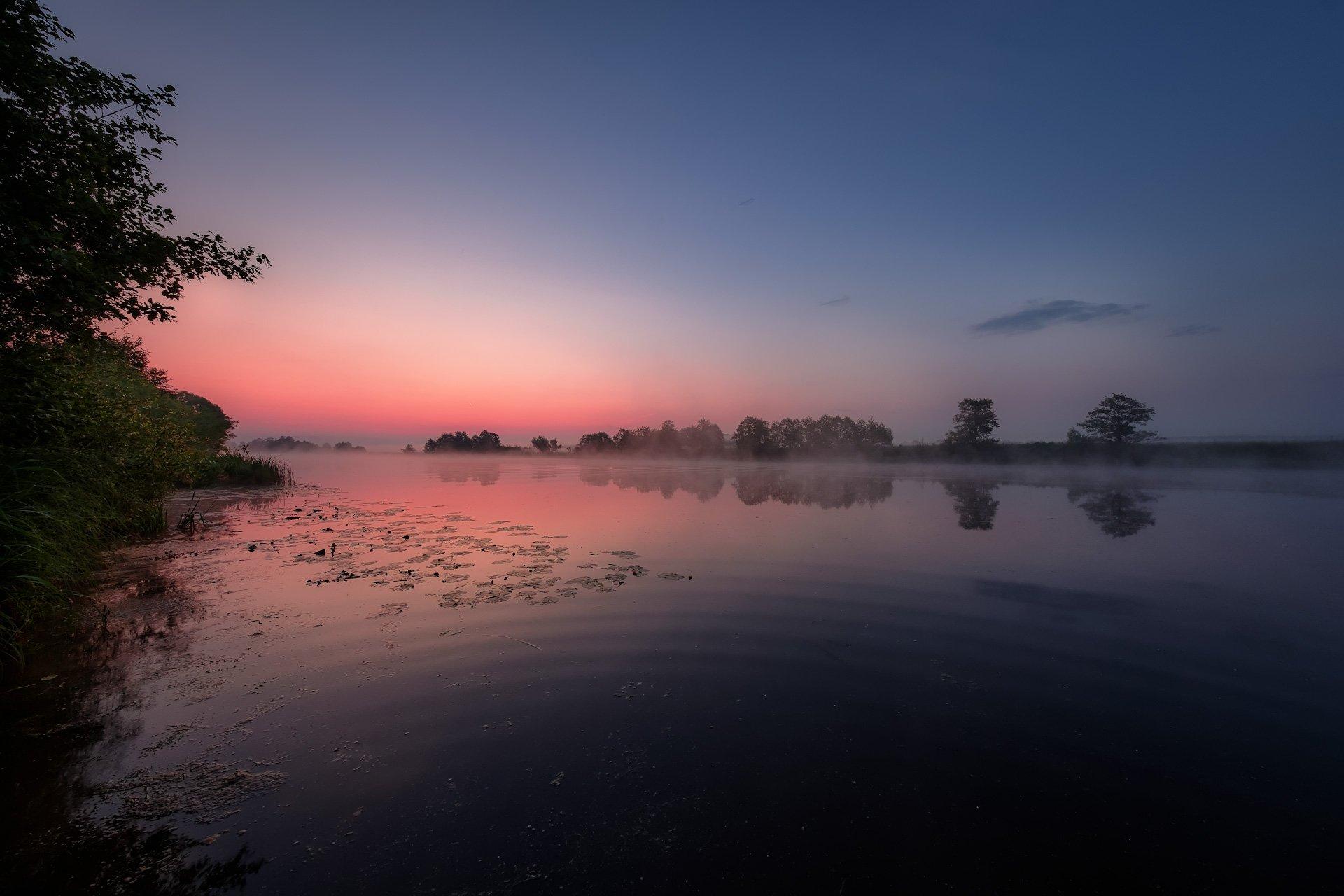 дубна, река, ночь, рассвет, туман, круги, вода, отражение, облака, Андрей Чиж