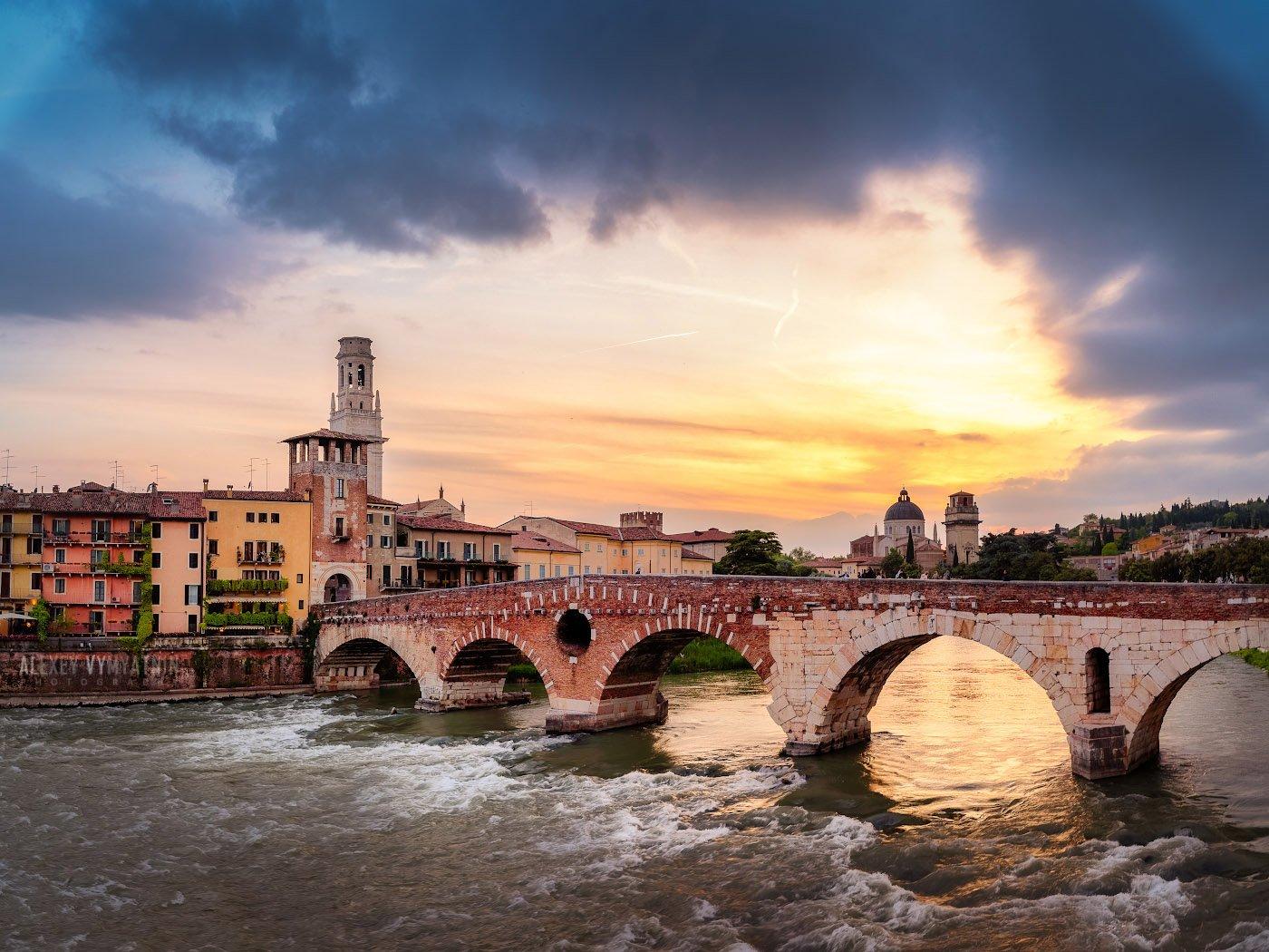 italy, italia, verona, veneto, sunset, urban, cityscape, Алексей Вымятнин