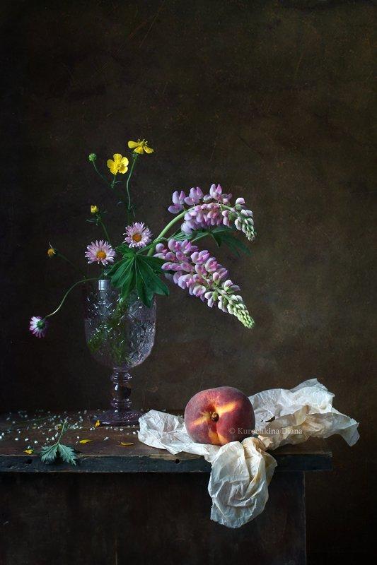 натюрморт, лето, цветы, букет, персик, Курочкина Диана
