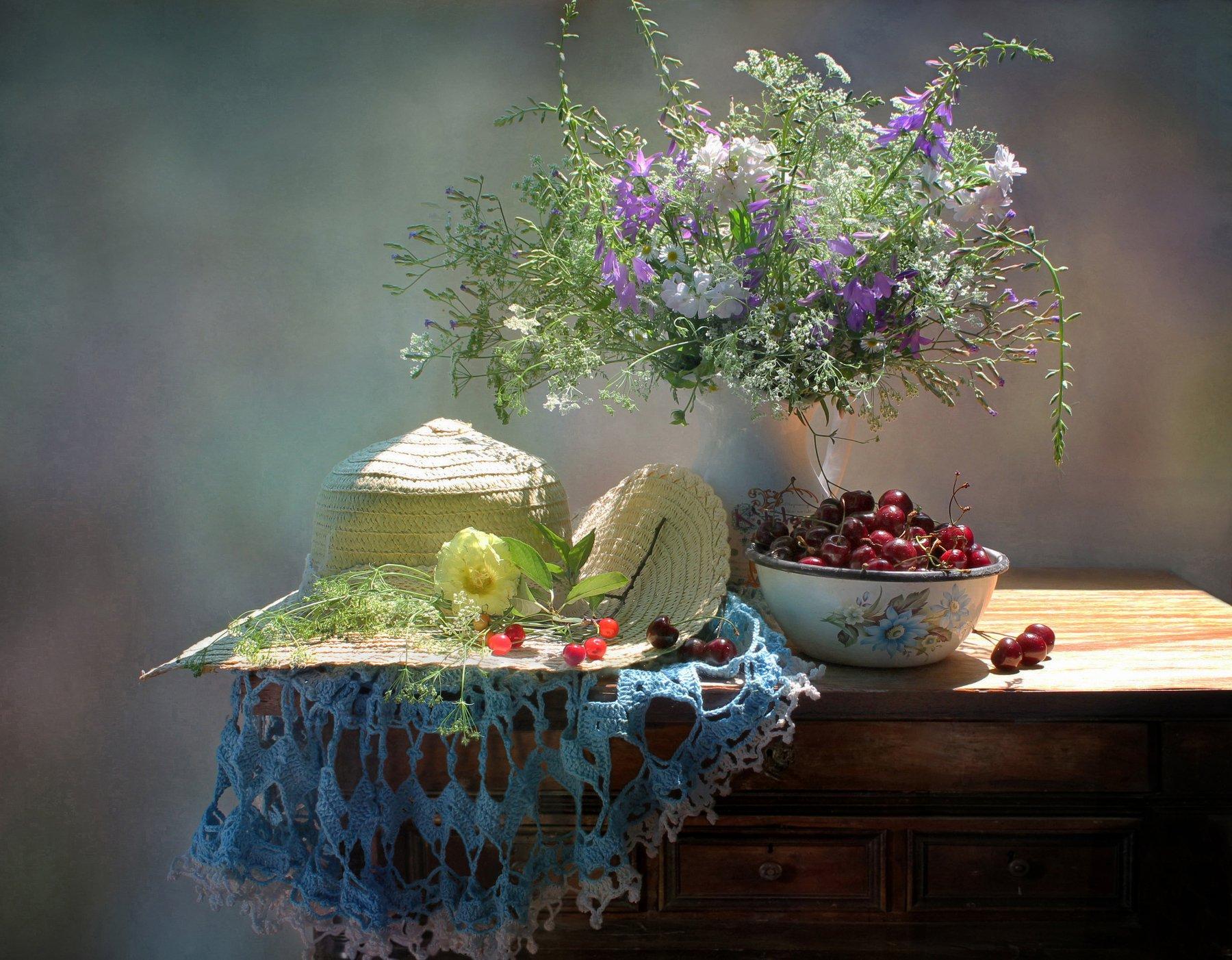 натюрморт, лето, черешня, полевые цветы, шляпа, Ковалева Светлана