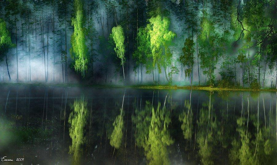 волшебство, колдовство, мистика, природа, утро, туман, озеро, лес, етти