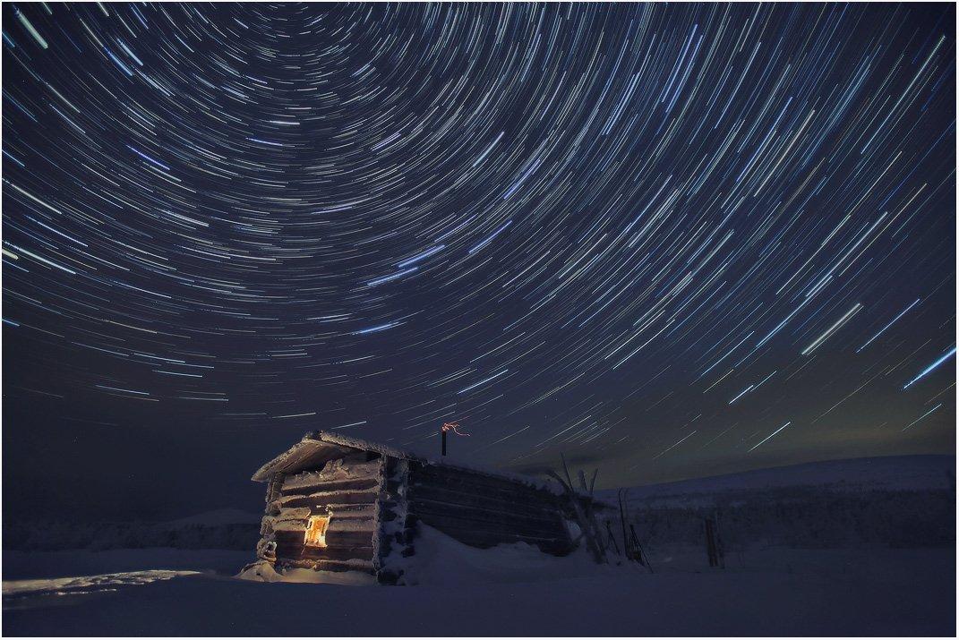 урал, зима, горы, ночь, звезды, изба, бахтиярова, Бродяга с севера