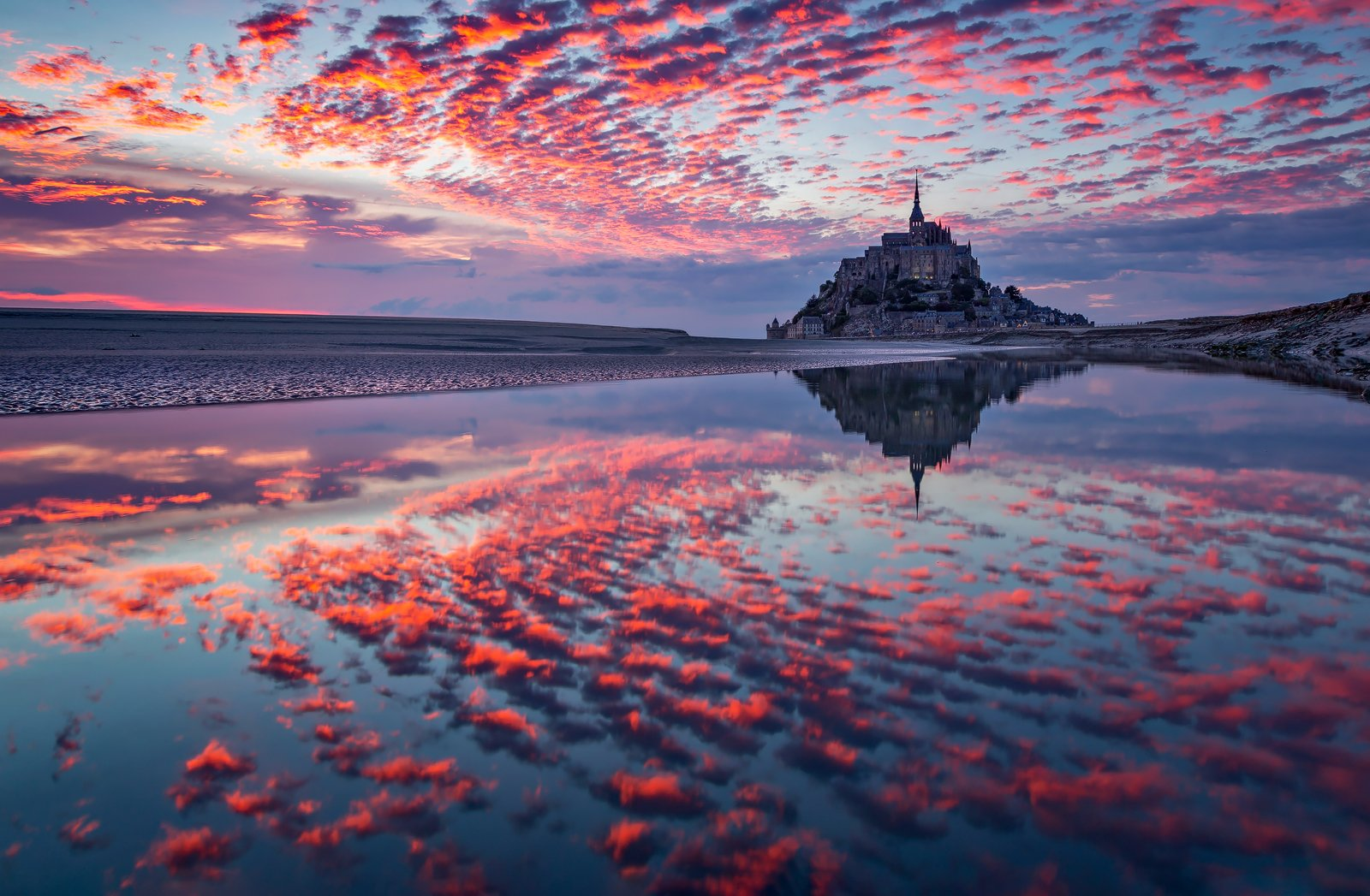 ocean, bretagne, france, sunset, landscape, nature, travel, summer, peak, clouds, island, mont saint michel, reflection, Lazar Ioan Ovidiu