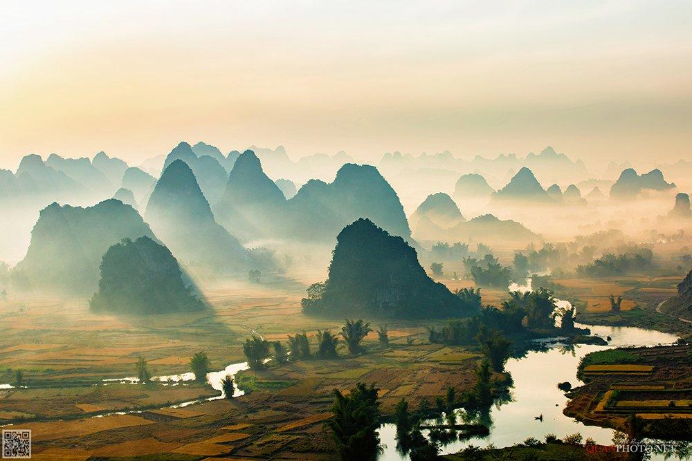 quanphoto, landscape, morning, sunrise, dawn, mountains, river, foggy, fields, misty, farmland, agriculture, valley, rural, vietnam, quanphoto