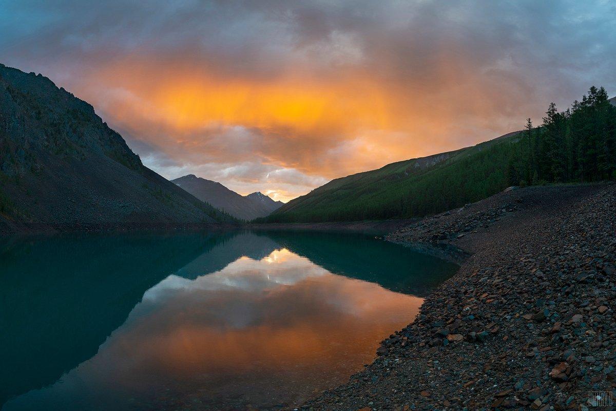 алтай, горы, закат, озеро,, Дмитрий Доронин