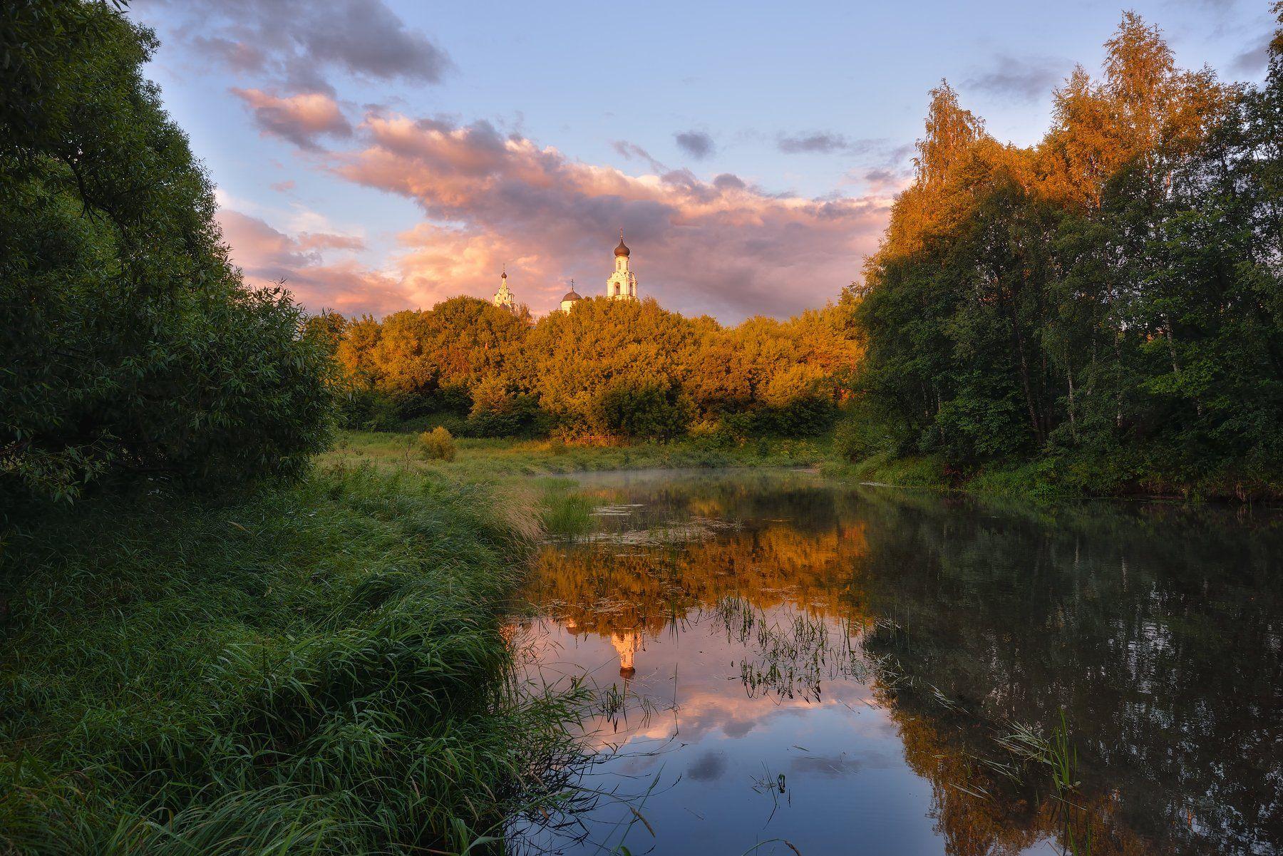 вечер,закат,река,свет,небо,облака,отражение,монастырь,киржач, Виталий Полуэктов