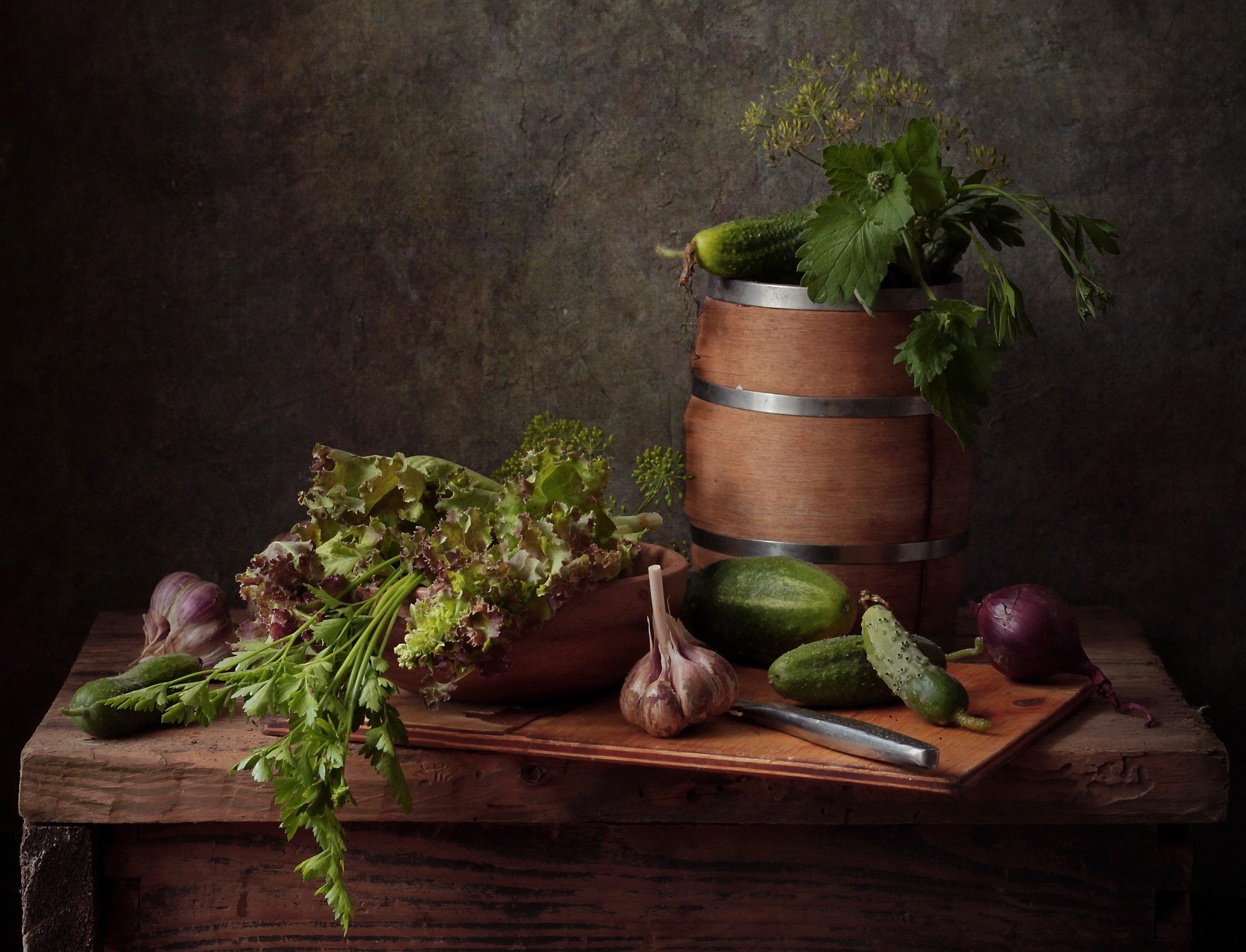 натюрморт, овощи, салат, огурец, Рябикова-Багузова Галина