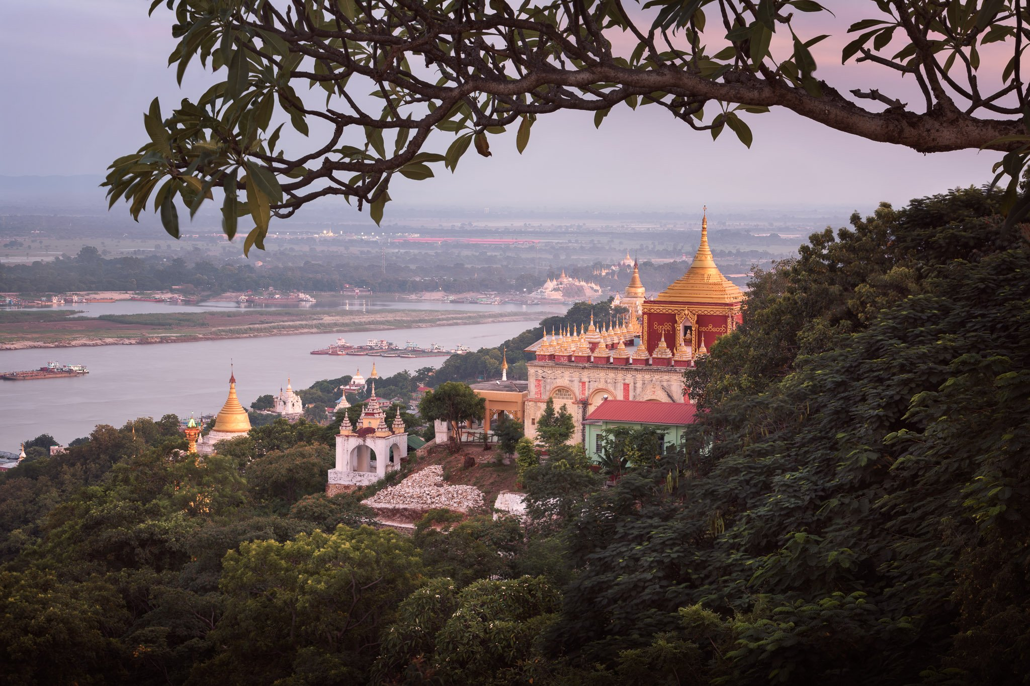 architecture, asia, asian, attraction, blue, buddha, buddhism, buddhist, building, burma, burmese, city, complex, culture, evening, exterior, golden, heritage, hill, historic, history, la, landmark, mandalay, monument, myanmar, outdoor, pagoda, pyae, red,, Omelyanchuk Andrey