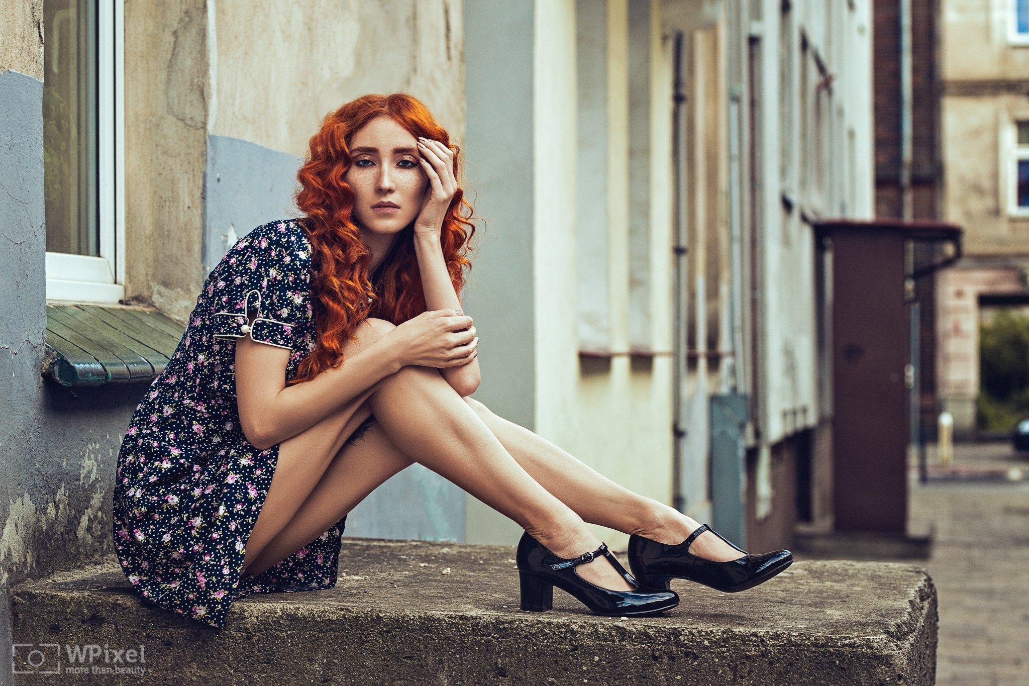 portrait women eyes redhair legs, Wojtek Polaczkiewicz