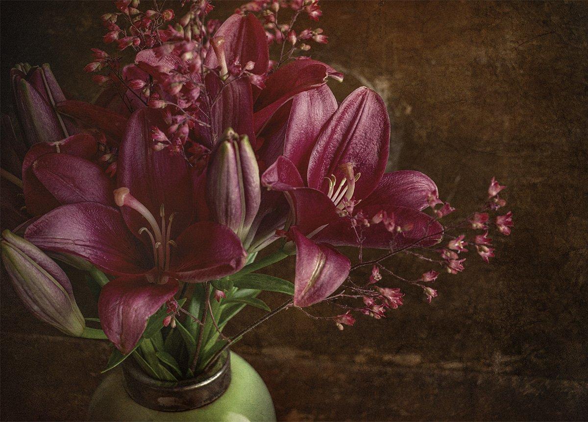 лилия, цветок, цветы, букет, ваза, винтаж, подарок, фон, Игорь Токарев