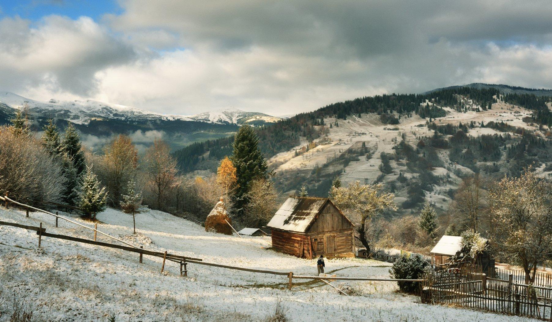 осень, горы, домик, Вьюшкин Игорь