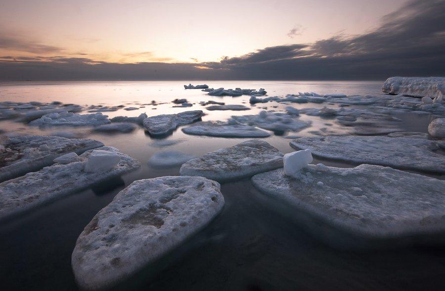 одесса, черное море, утро, рассвет, льдины, лёд, Вадим Шуварский