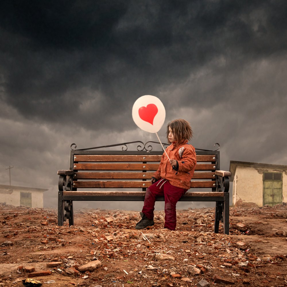 balloon, girl, child, bench, hangar, abandoned, heart, bricks, ground, alone, sky, clouds, drama, story, Caras Ionut