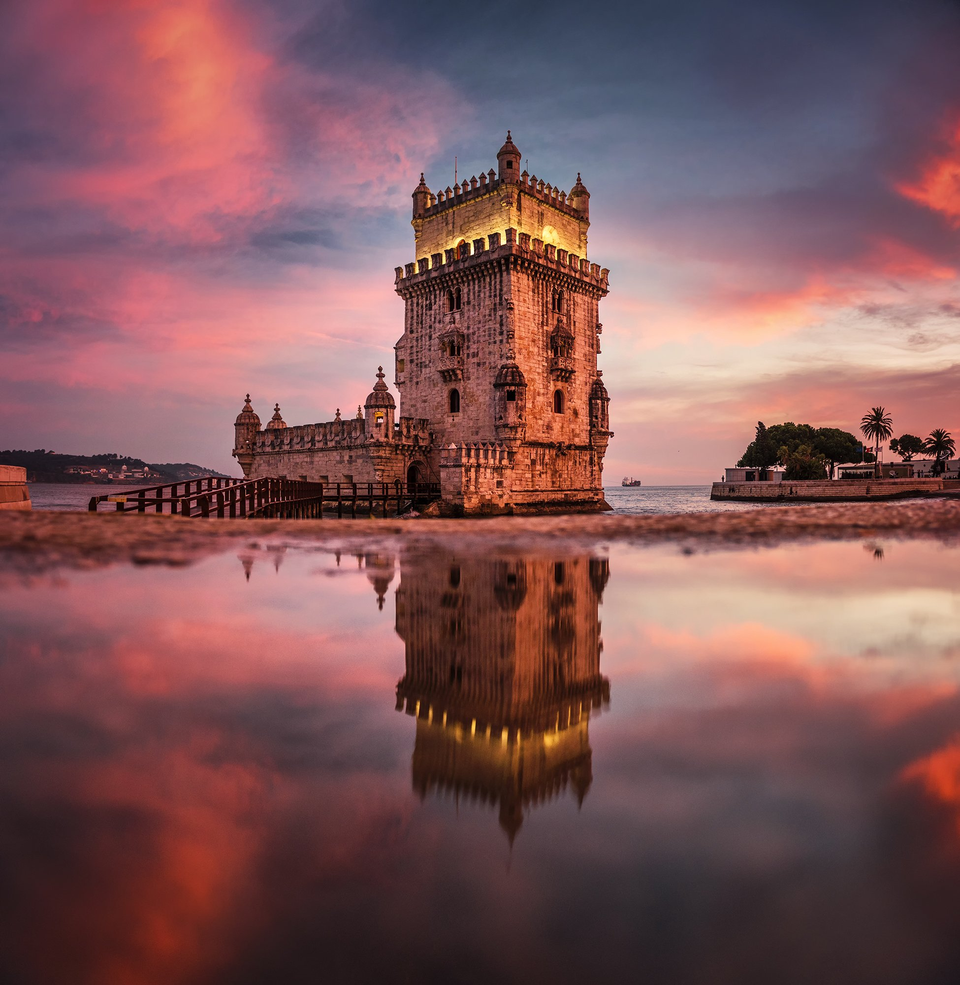lisbon, portugal, belem, tower, sunset, sun, colors, light,clouds, reflection, architecture, europe,, Bieganski Patryk