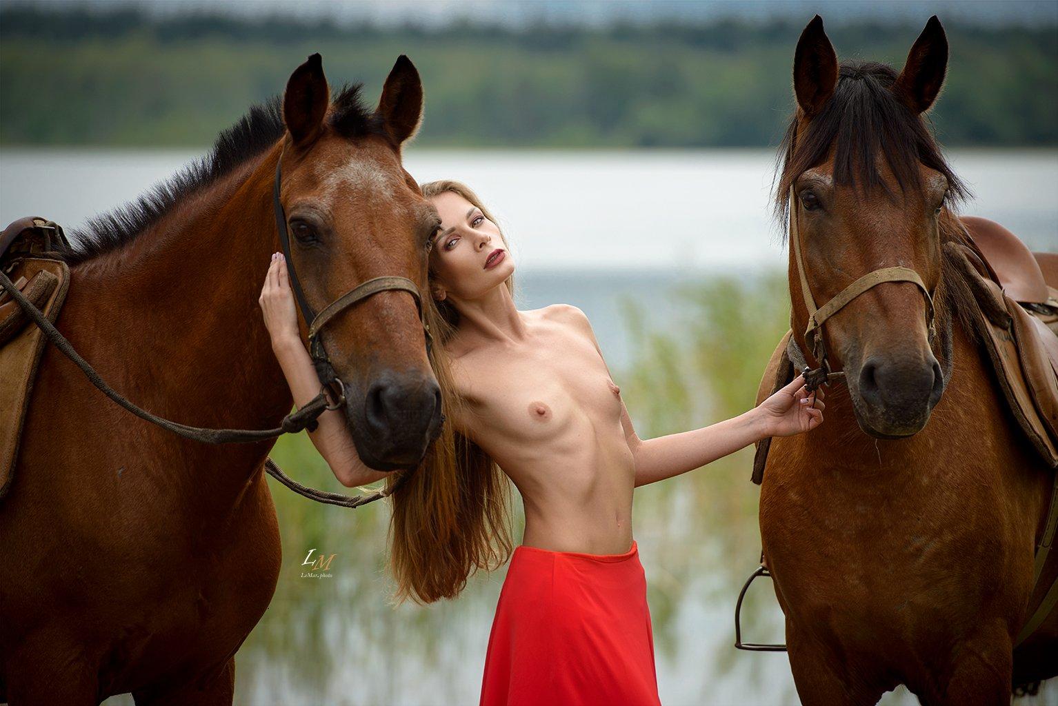 ню, пленэр, озеро, селигер, фотосессия, ню фотограф, фотограф, фотосессии в москве, lemarphoto, девушка, лошадь, Маркачев Леонид