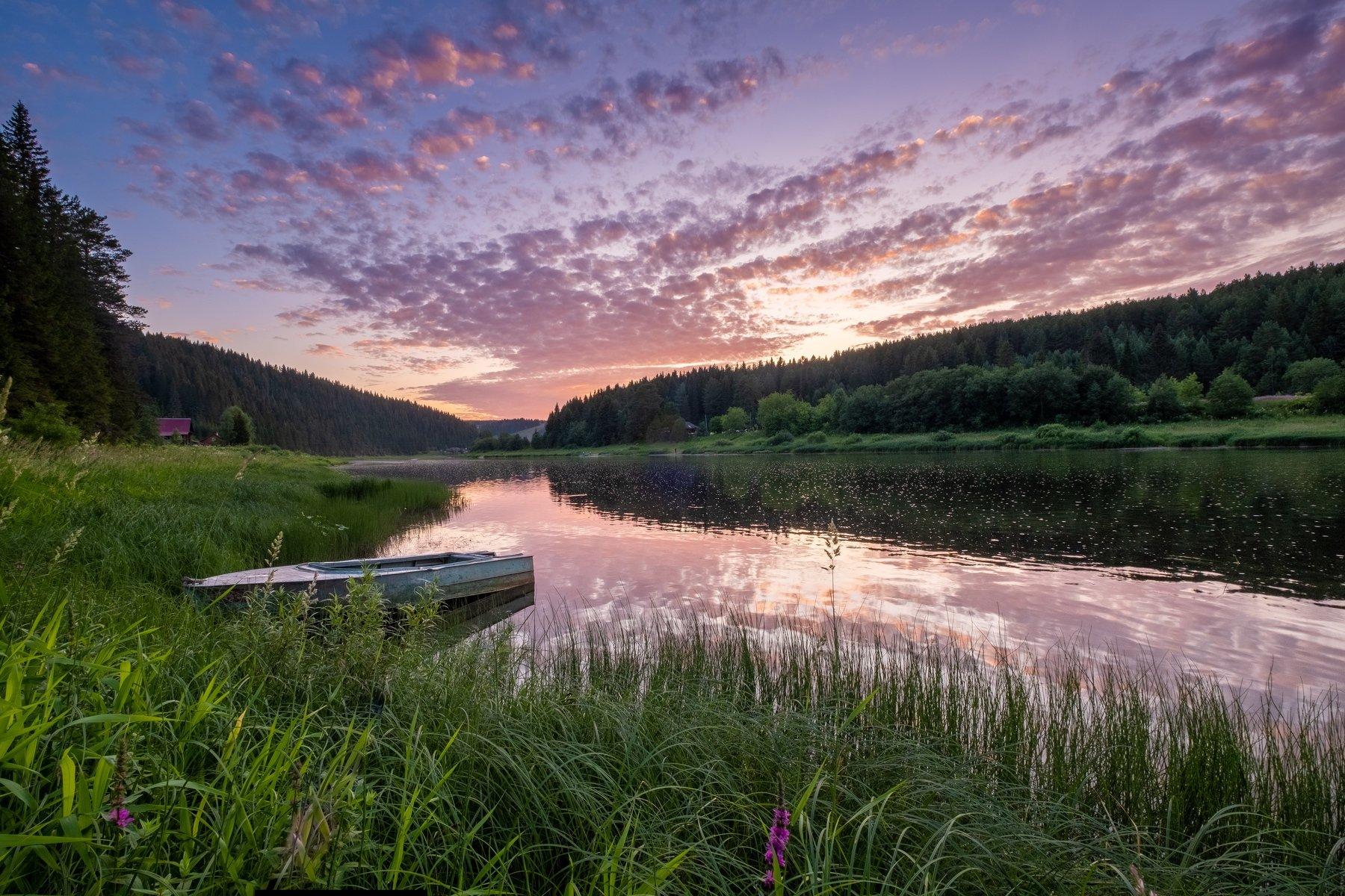 закат, река, лето, лодка, отражение, Савицкий Ян
