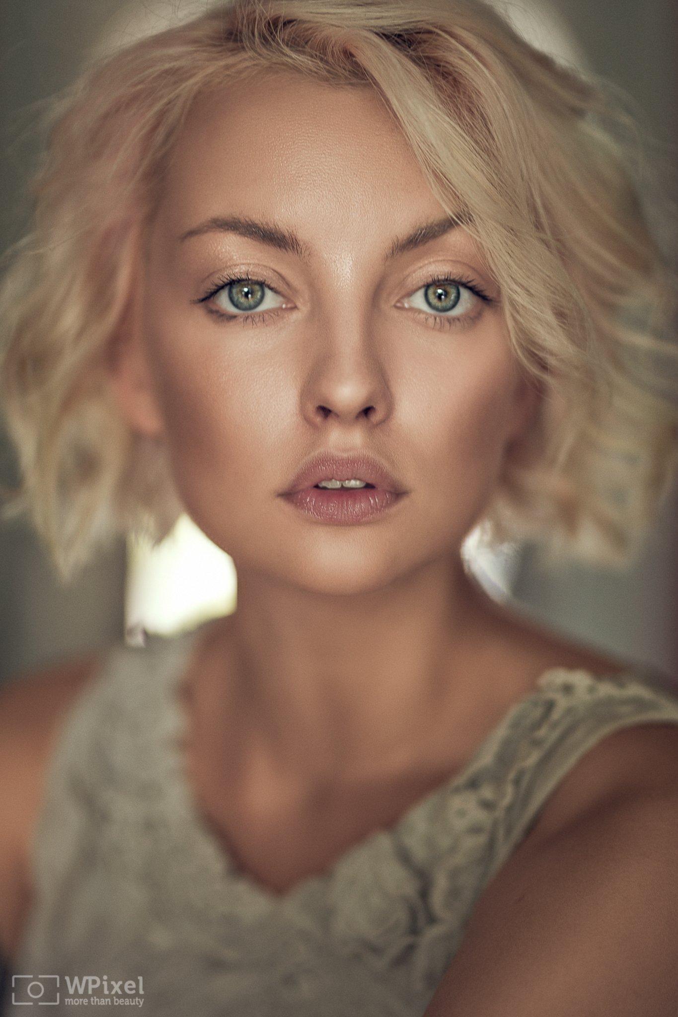 portrait women eyes blonde, Wojtek Polaczkiewicz