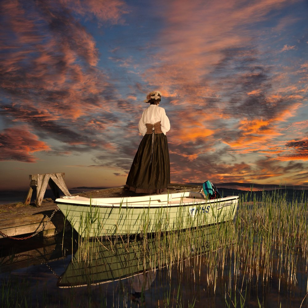 sky, girl, sunset, water, boat, reflection, clouds, grass, pier, victorian, Caras Ionut