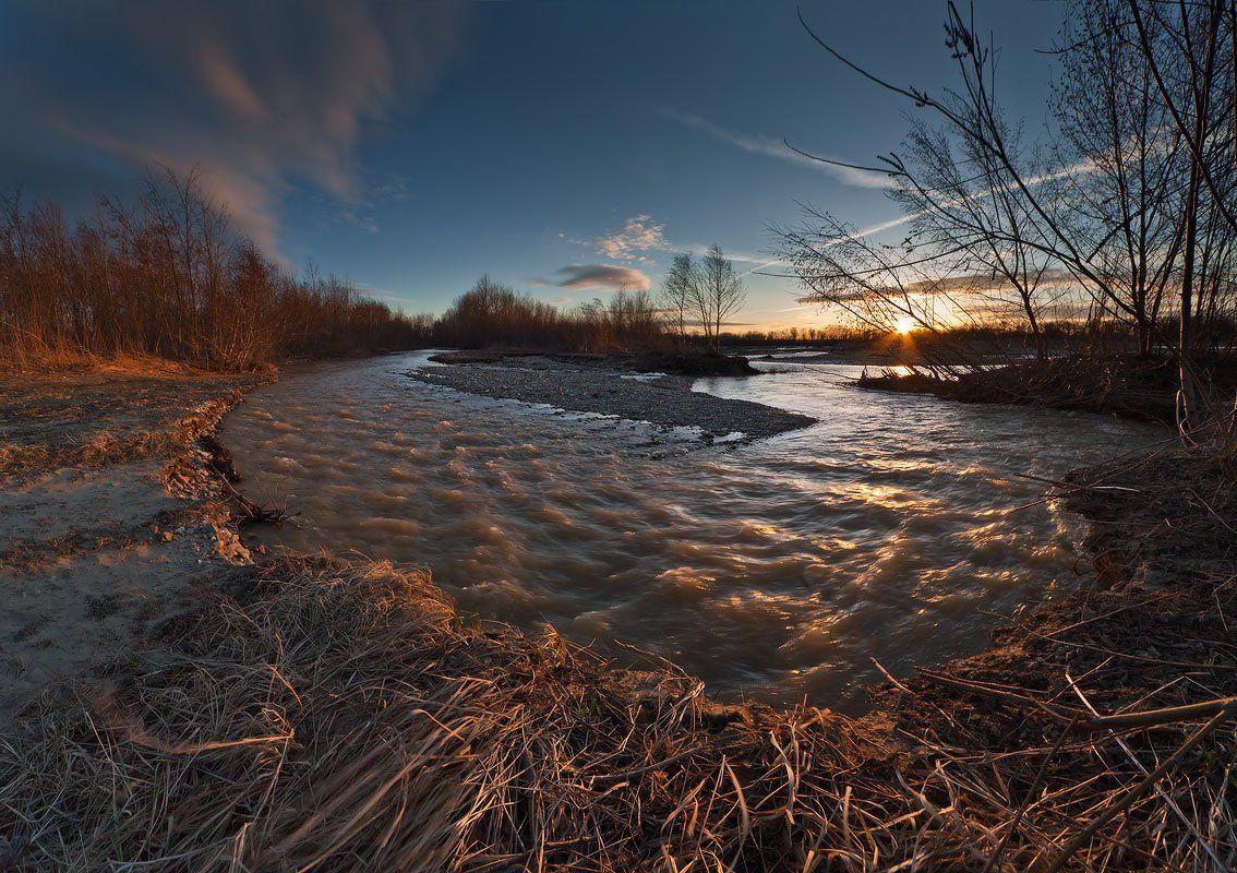 река, лаба, весна, закат, Николай
