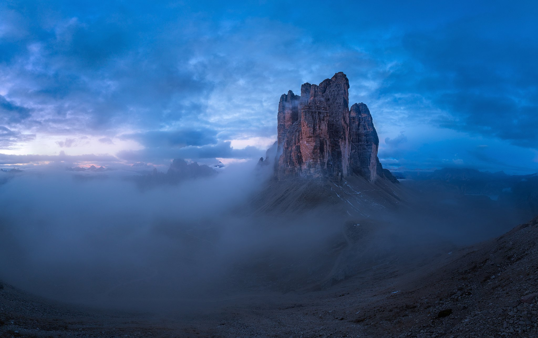tre cime, unesco, dolomites, alps,morning, blue, rock, mountain, italy,, Misiak Adrian