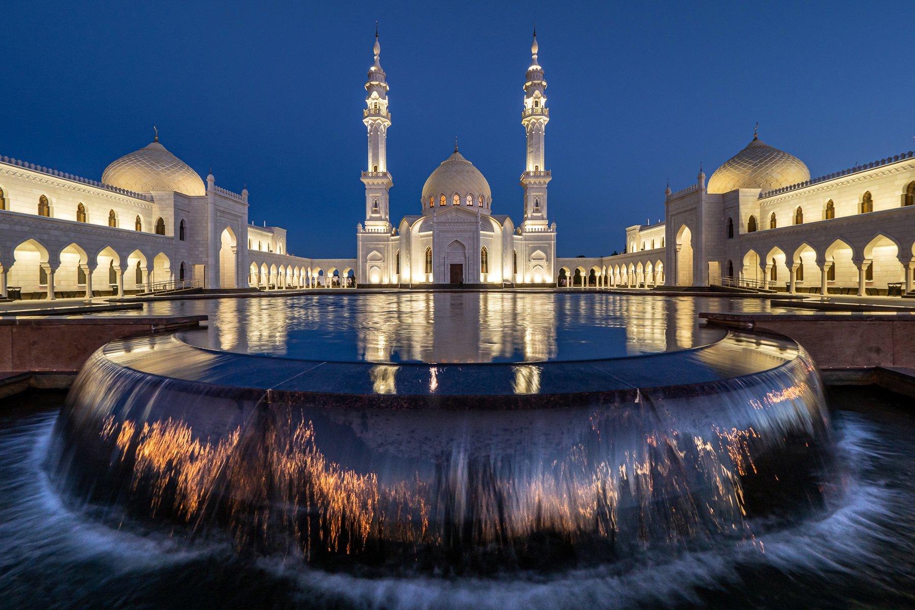 мечеть, отражение, ночь, болгар, вода, Татьяна Белякова