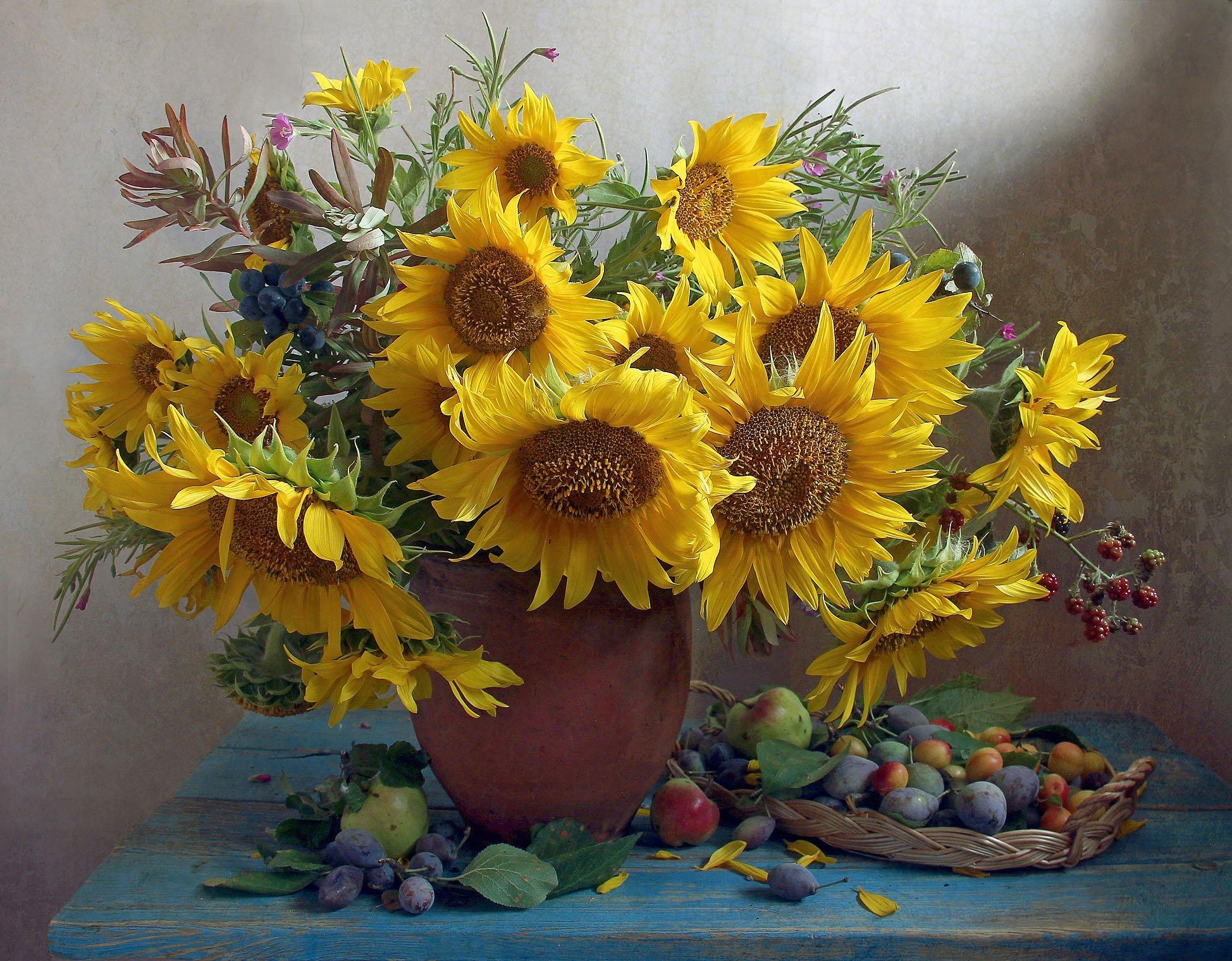 лето,  цветы,подсолнухи, натюрморт, марина филатова, Филатова Марина