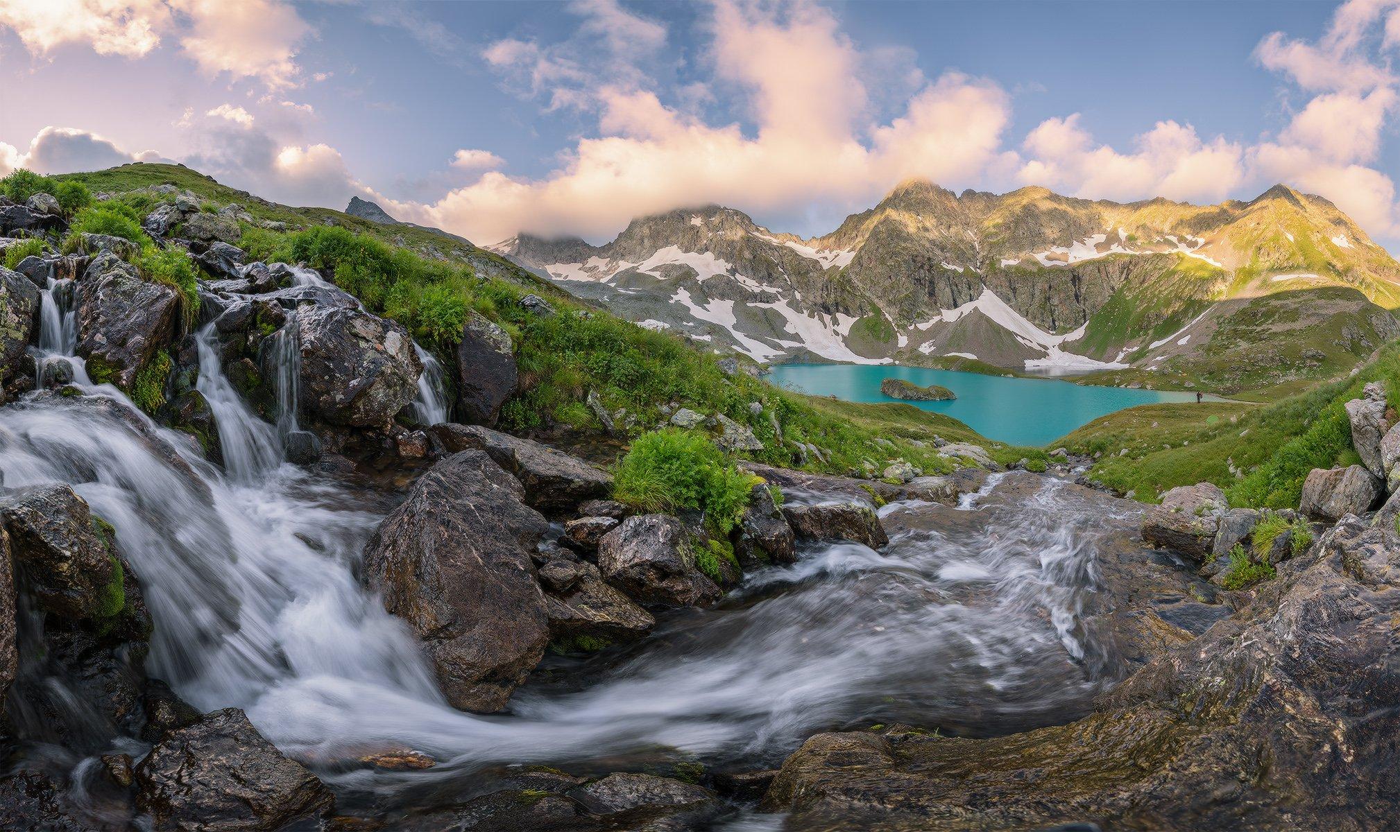 северный, кавказ, большое имеретинское озеро,рассвет, июль,, Николай