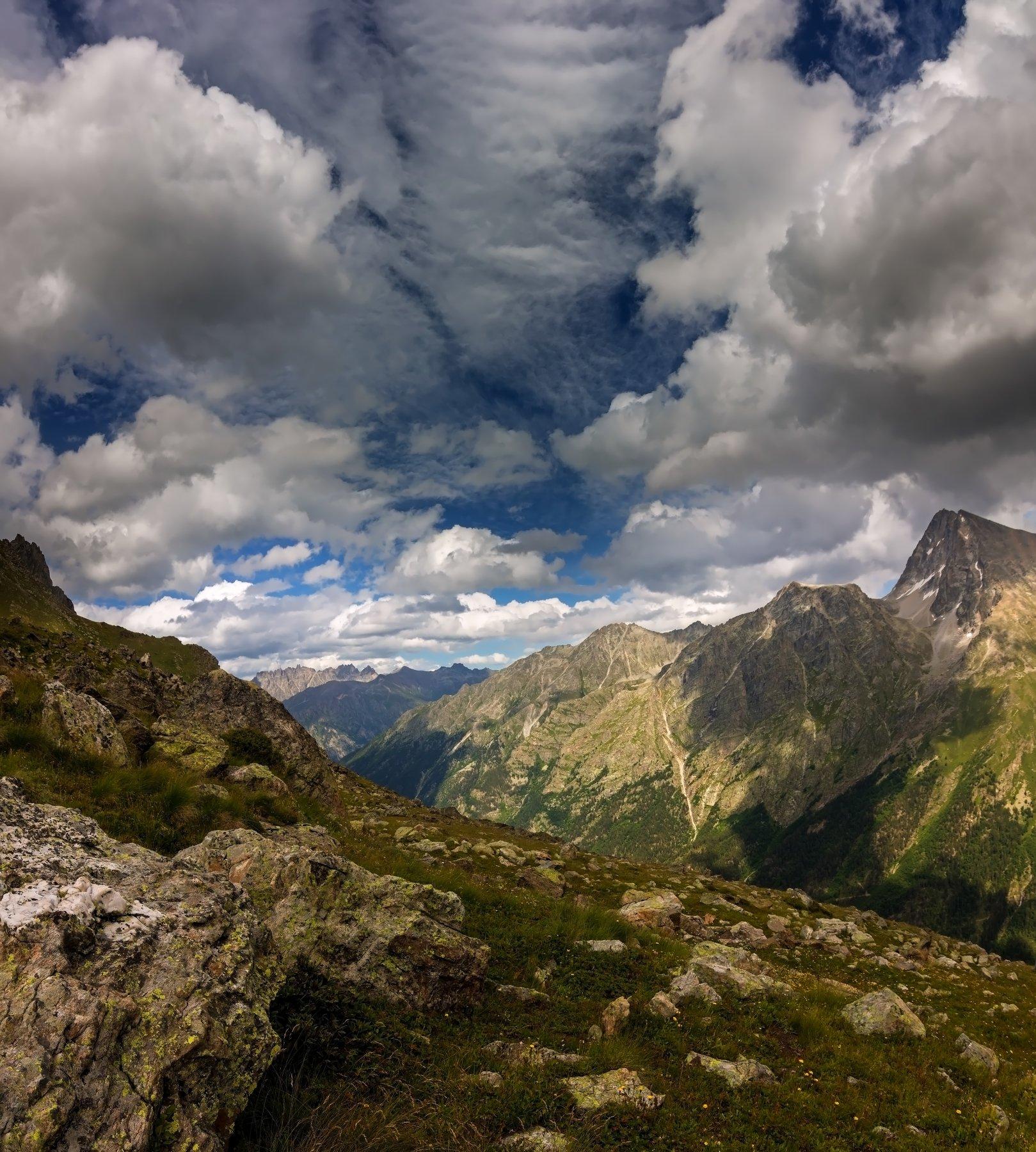 горы, облака, кавказ, Эстелла