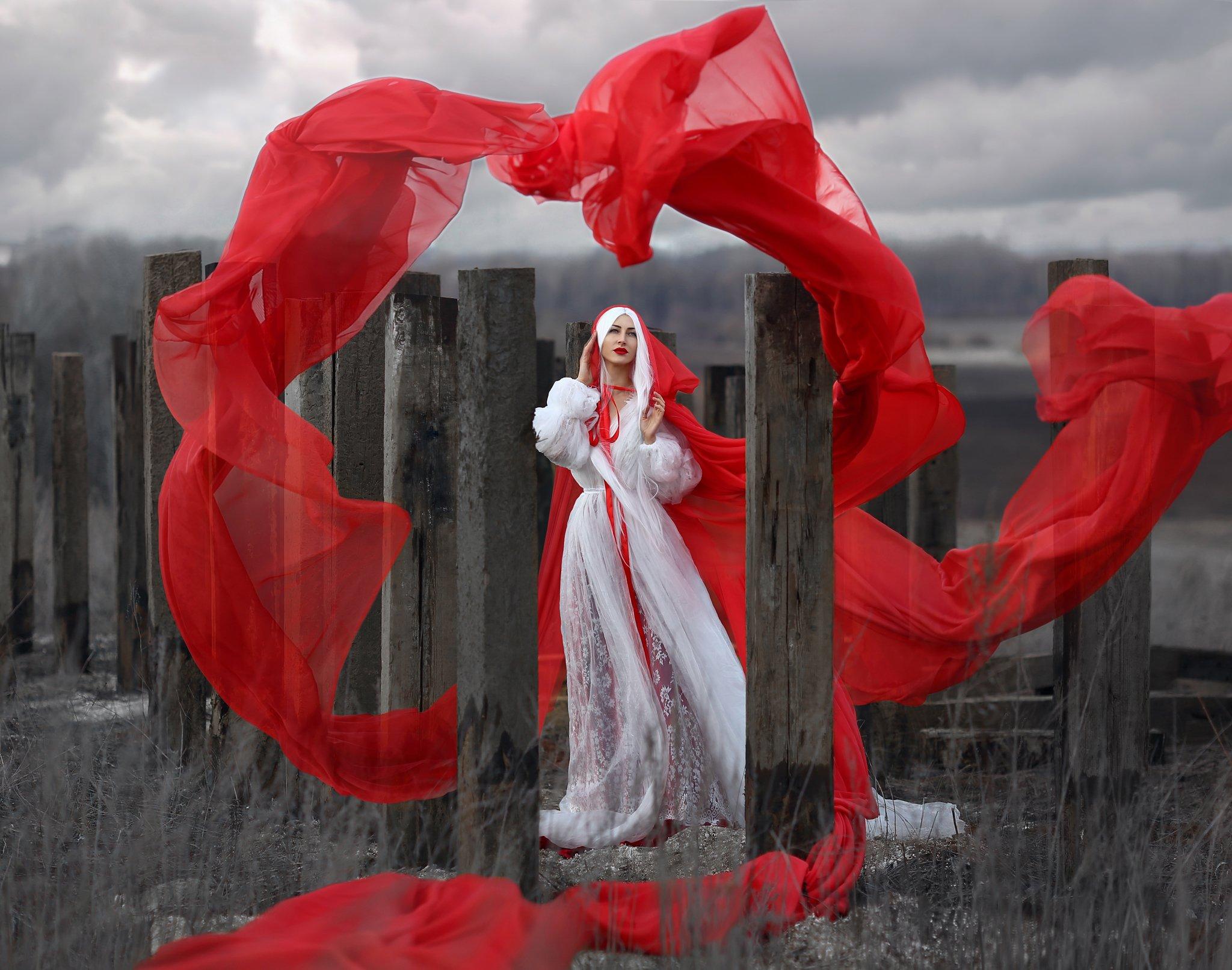 barren, бесплодие, красная ткань, летящая ткань, голая земля, белые волосы, хмурое небо, арт, сказка, Голубятникова Ирина
