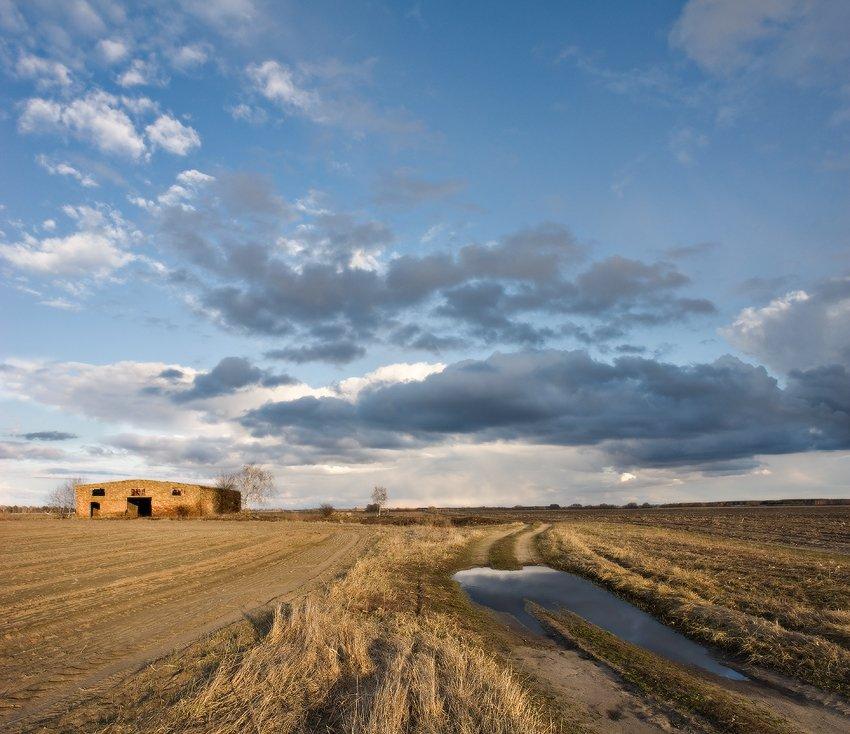 облока, небо, дом, лужа, отражение, дорога, поле, Art Loo