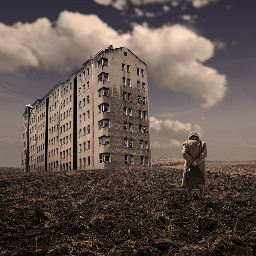 photoshop training with caras ionut,old,woman,building,ground,country,sky,clouds,shinning,light,alone,visitor,bag,flat, Caras Ionut