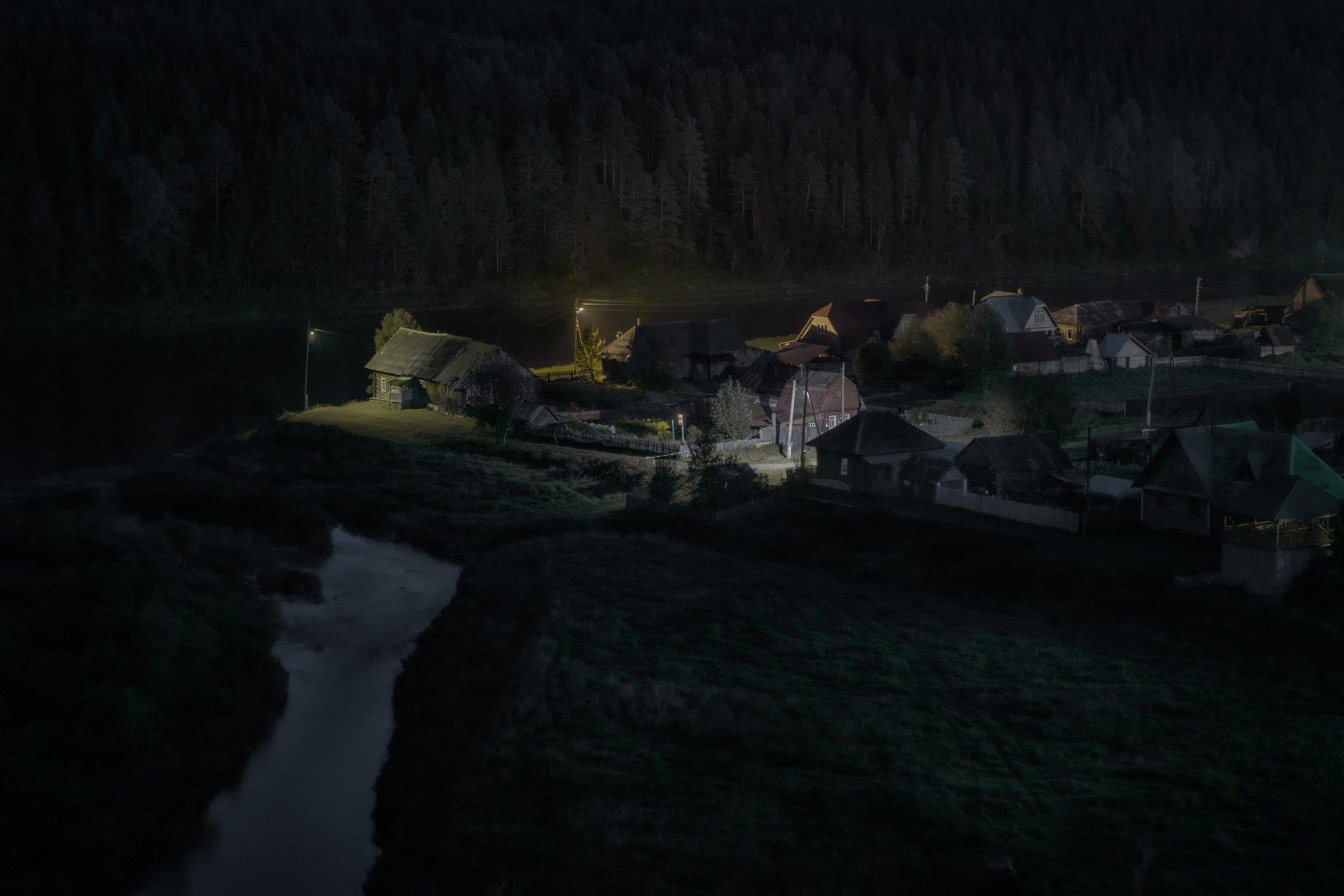 чусовая, река, ночь, кын, село, огни, лес, дома, деревня, Андрей Чиж