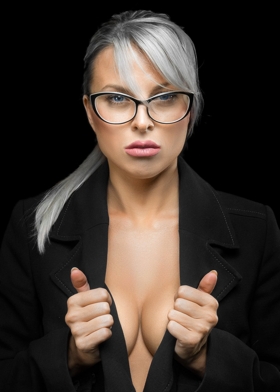 woman, eyeglasses, sexy, dark, blonde, Dmitry Belyaev