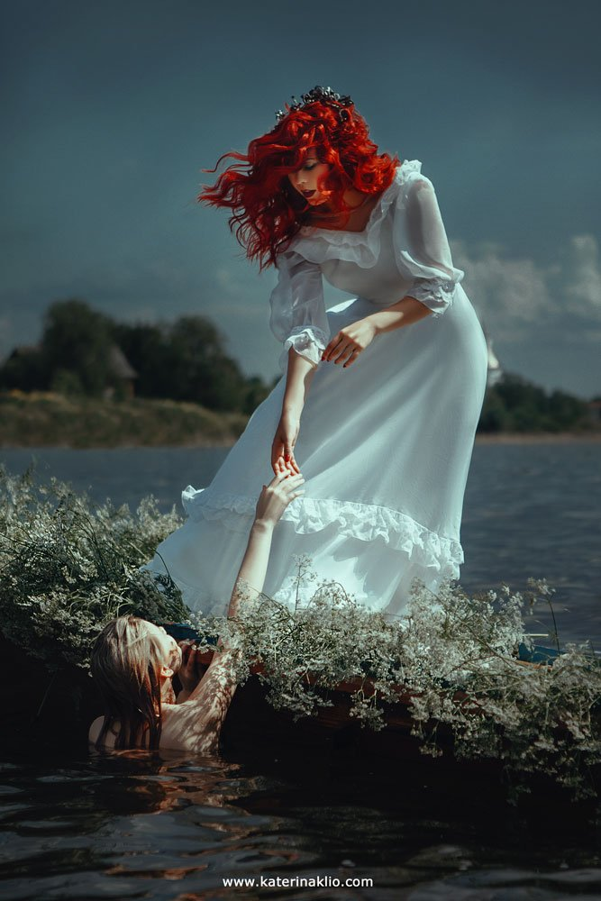 mermaid, art, portrait, photo, red, ginger, couple, fairy, fairy tale, fantasy, fine art, fantastic, drama, nature, Клио Катерина