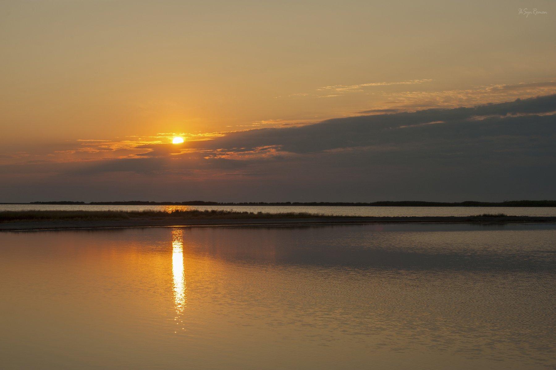 берег,лето,лиман,море,облака,пейзаж,рассвет,утро,штиль, Roma  Chitinskiy