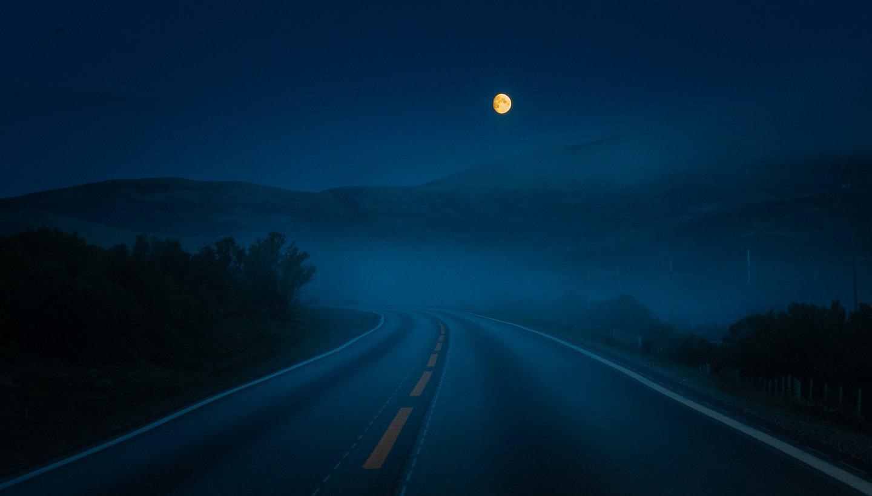dovre,dovrefjell,norway,norwegian,mountains,moon,night,blue hour, Szatewicz Adrian