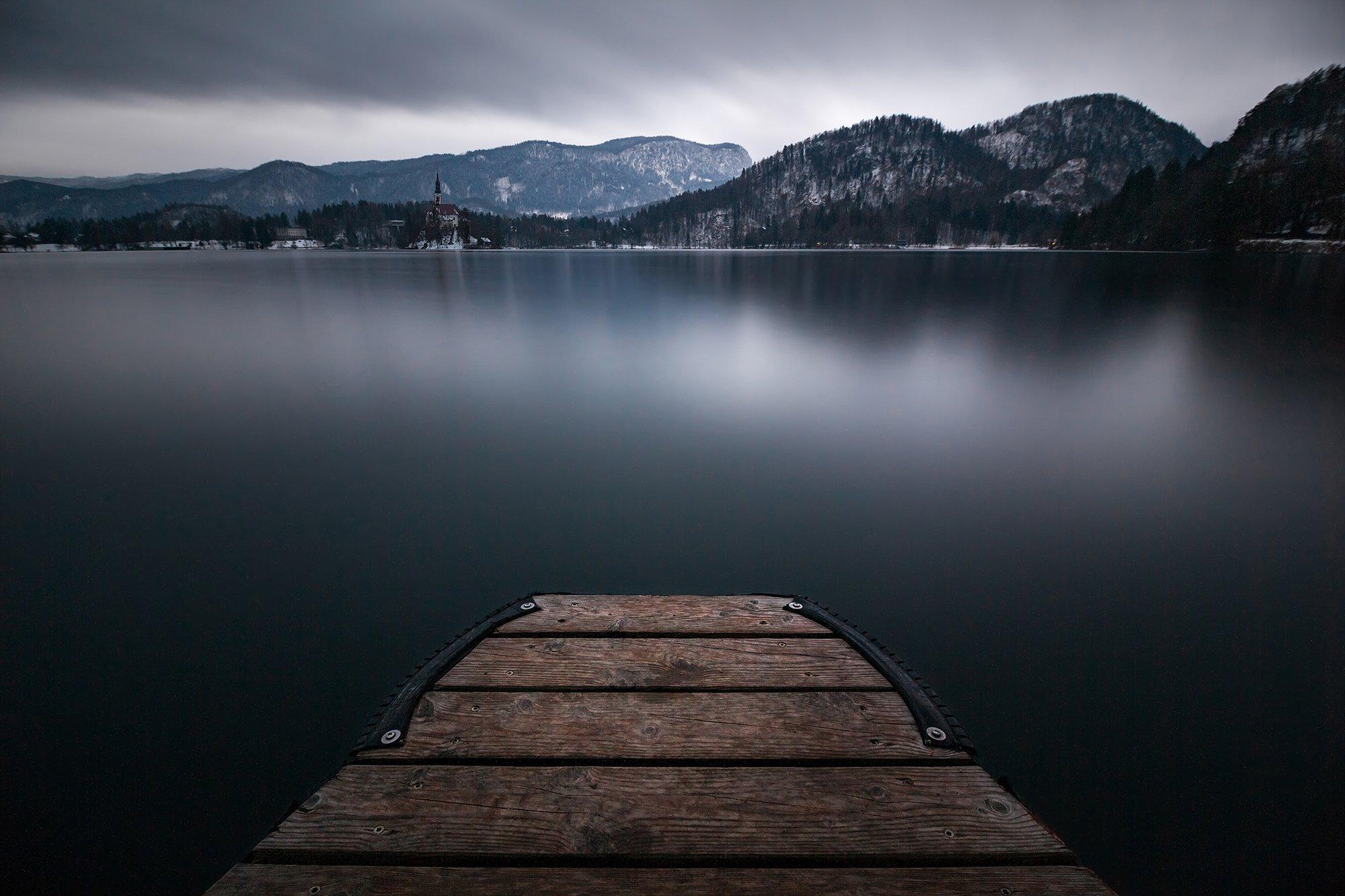 вода, озеро, словения, блед, вечер, пирс, причал, длинная выдержка, Сергей Серушкин