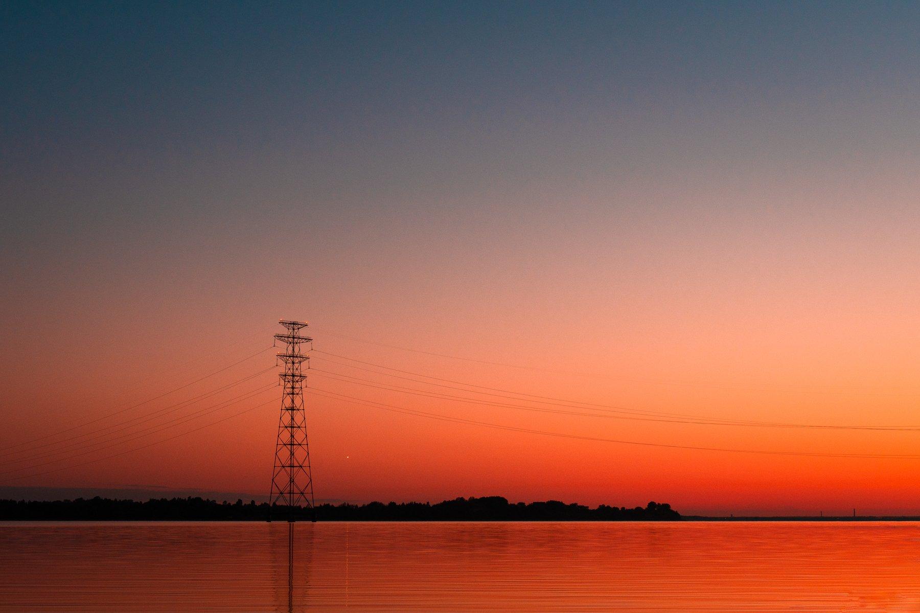 пейзаж,закат, лето,вода,минимализм , Дмитрий Рябцев