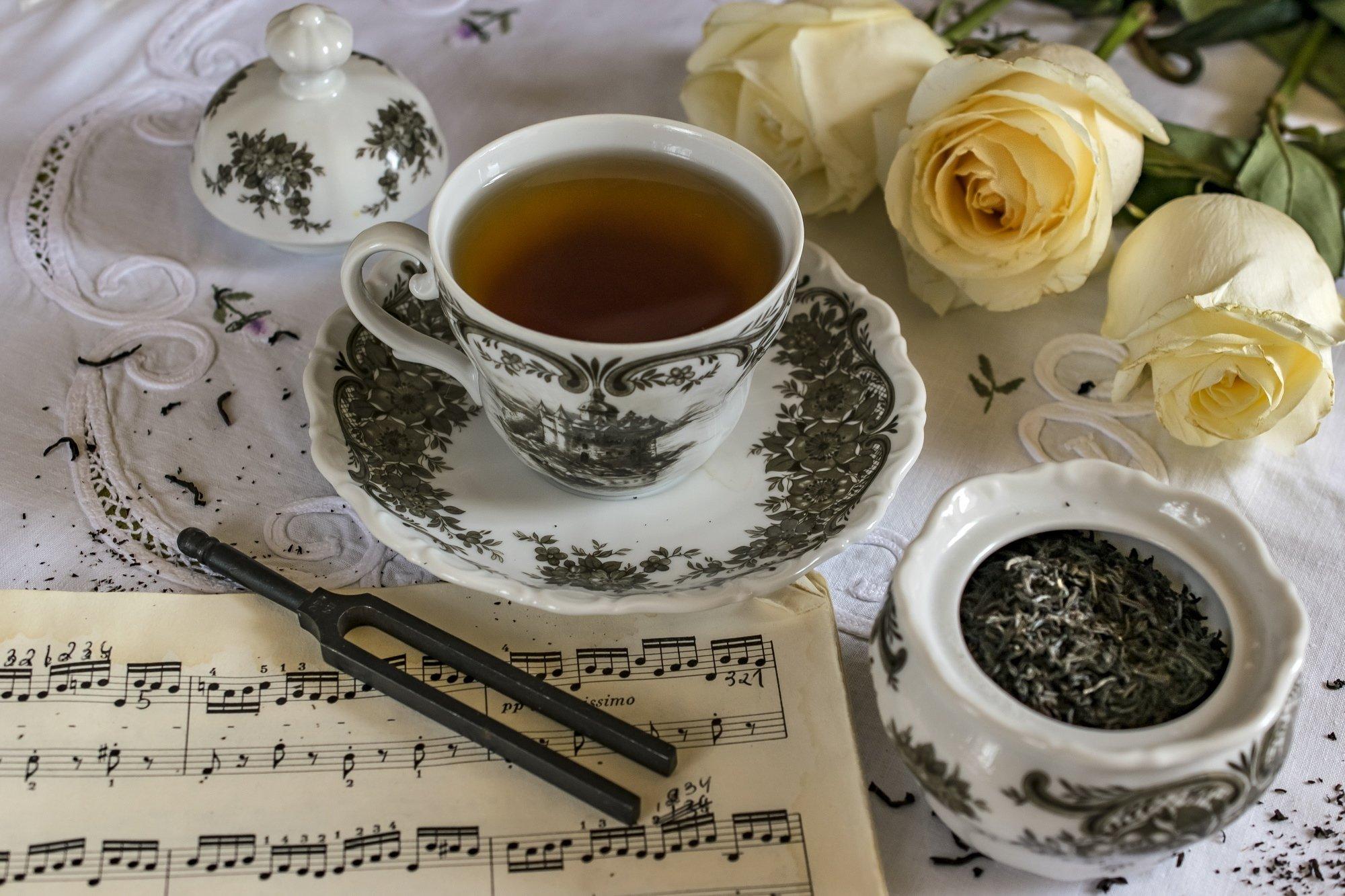 чай, чашка, цветы, розы ноты, Грицик Инна