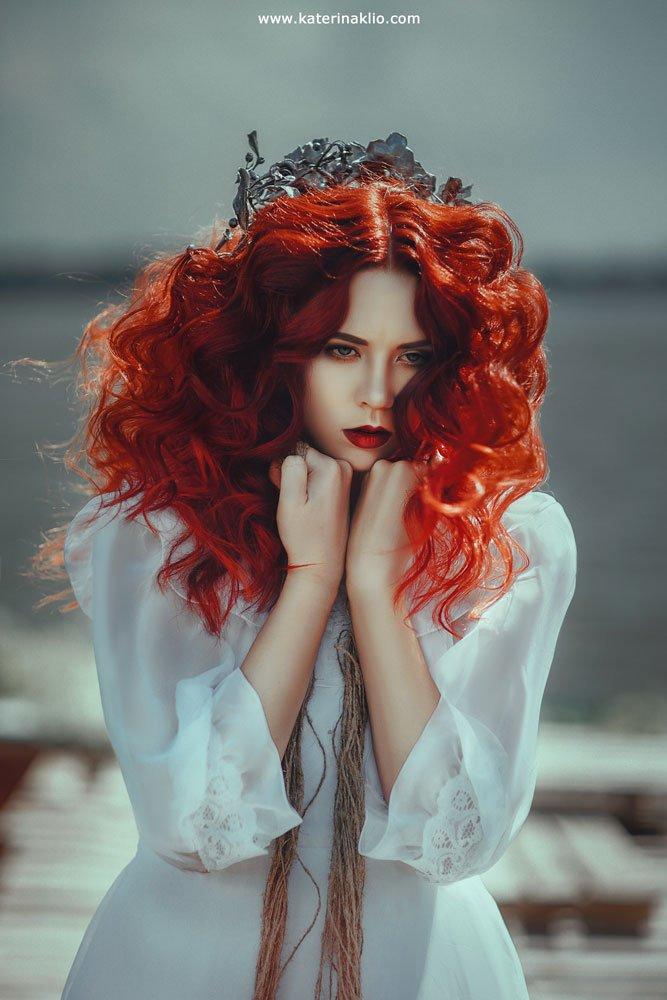 mermaid, art, portrait, photo, red, ginger, couple, fairy, fairy tale, fantasy, fine art, fantastic, drama, nature, Клио Катерина