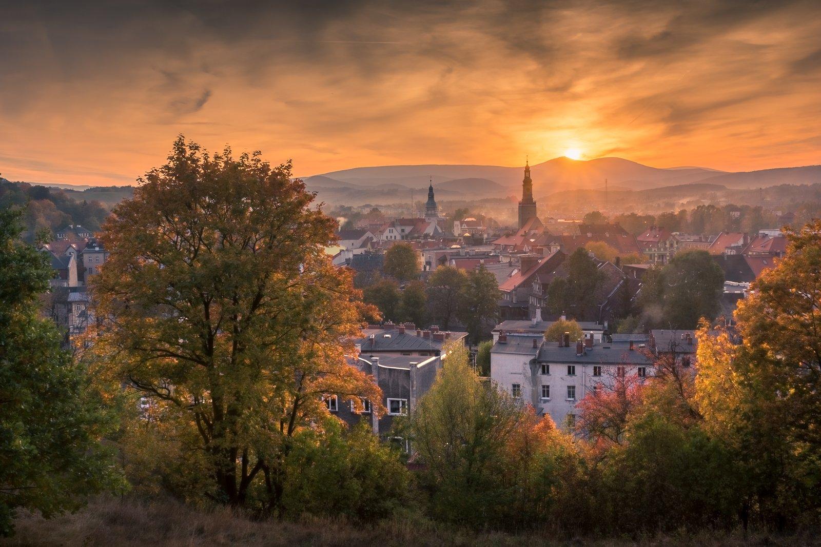 karkonosze, mountains, sniezka, kamienna, gora, autumn, landscape, nature, sunset, city,, Bociarski Artur