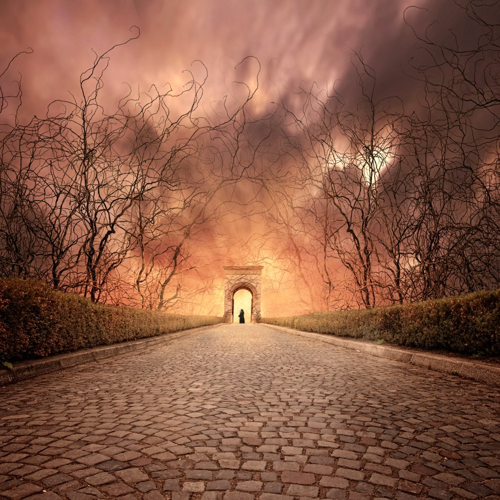 light, clouds, tree, road, gate, bush, shadow, man, wood, toned, stone, mystery, rays, dramatic, colorful, bricks, passing, portal, pastor, Caras Ionut