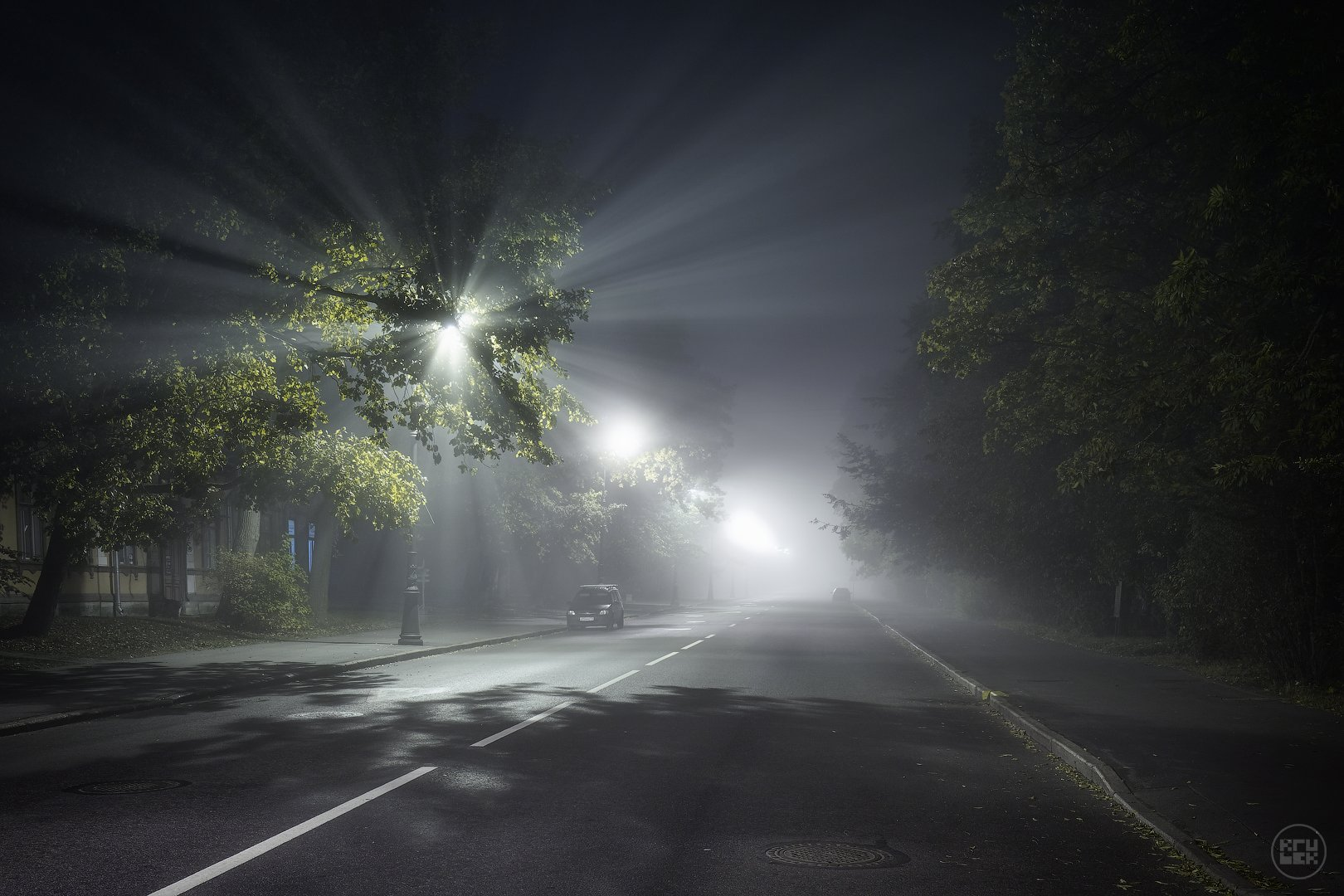 пушкин, ночь, туман, улица, KrubeK