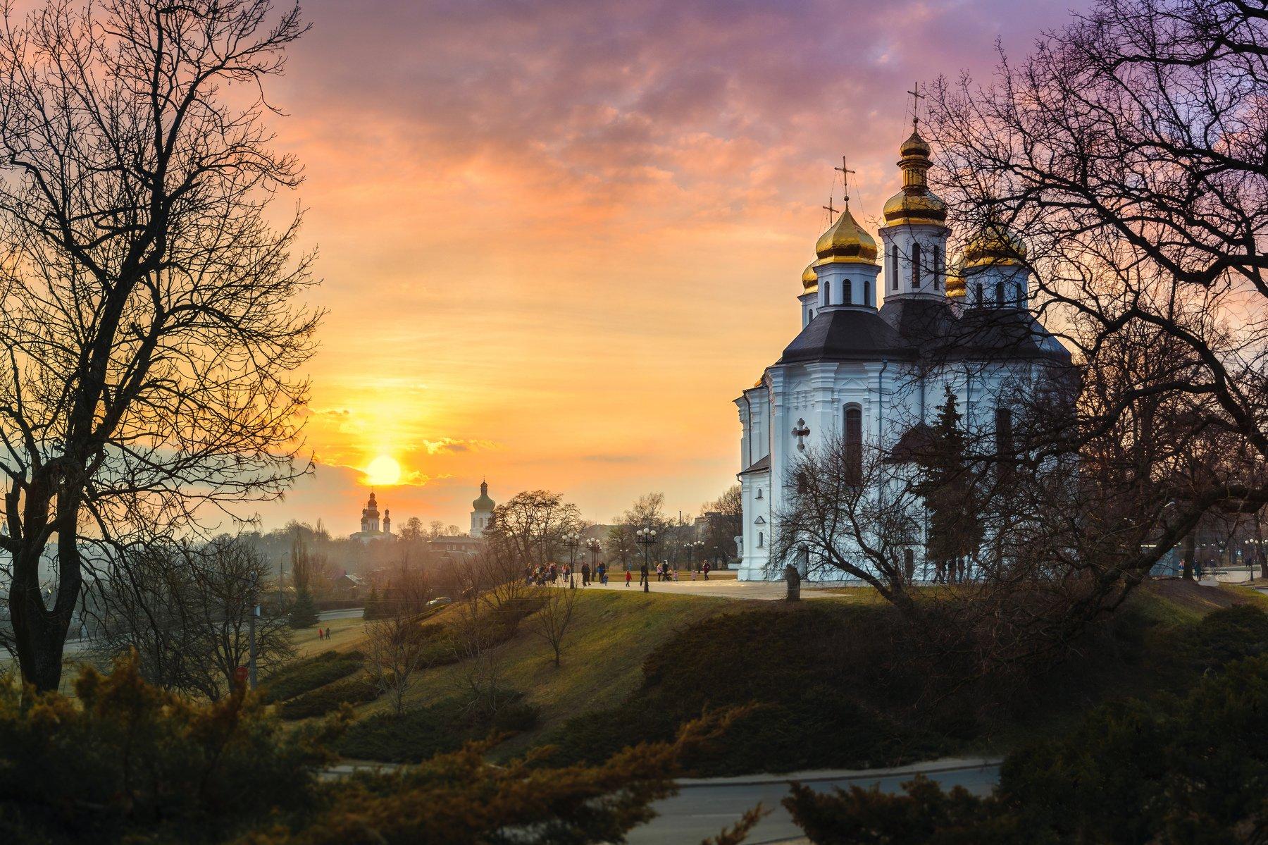 закат, церковь, украина, древний, религия, купола, золото, вера, небо, Казун Андрей