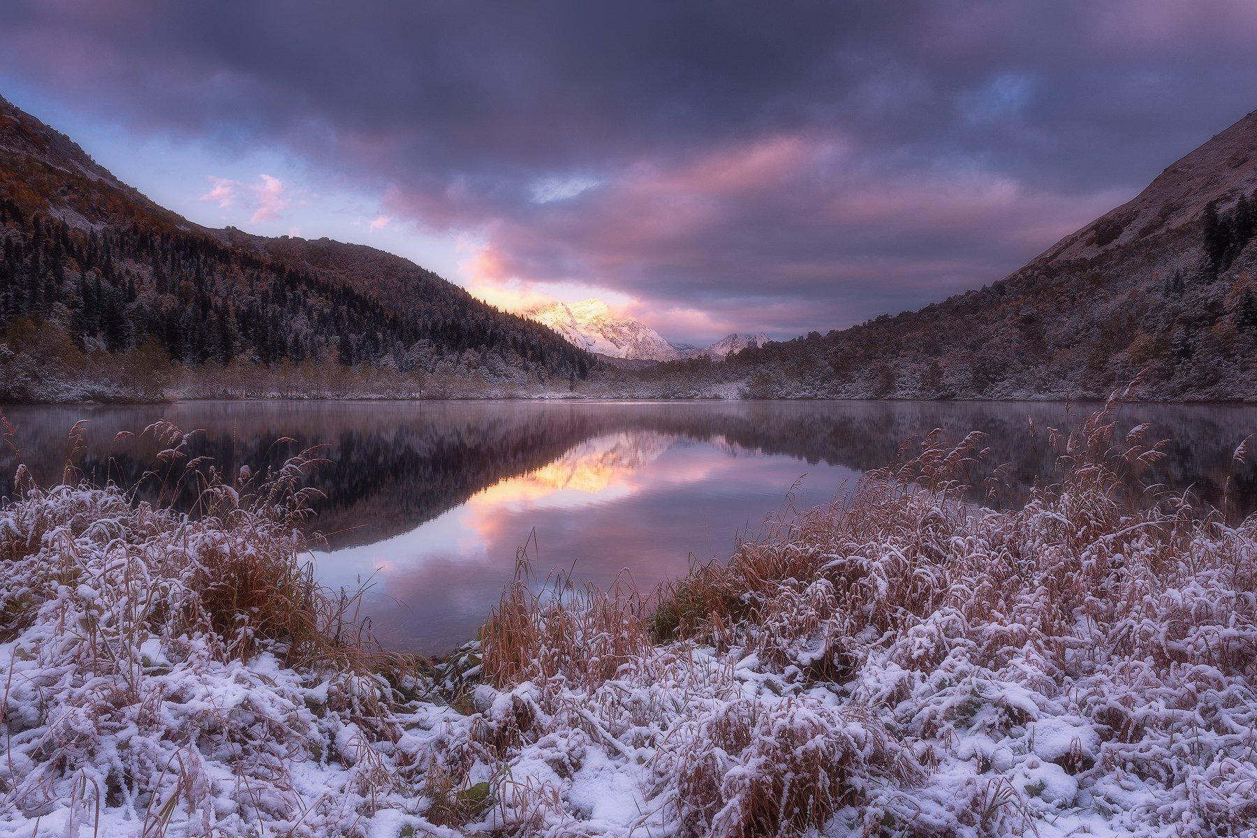 рассвет, снег, горы, озеро, отражение, осень, кавказ, пейзаж, кардывач, агепста, кавказский заповедник, Leschinskaya Tania