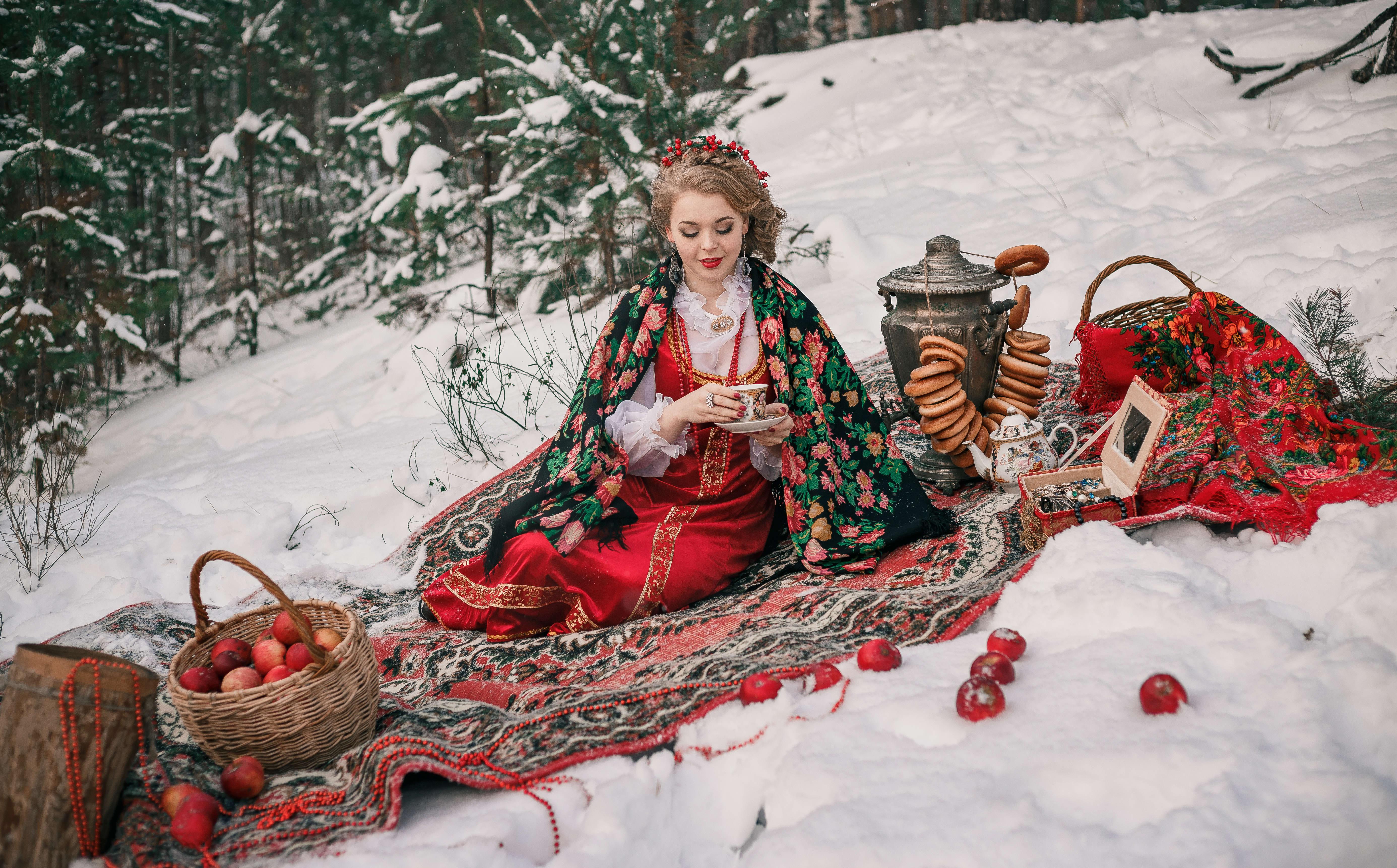 девушка, портрет, фотосессия, фотопроект, яблоки, снег, зима, чай, самовар, Васильев Владимир