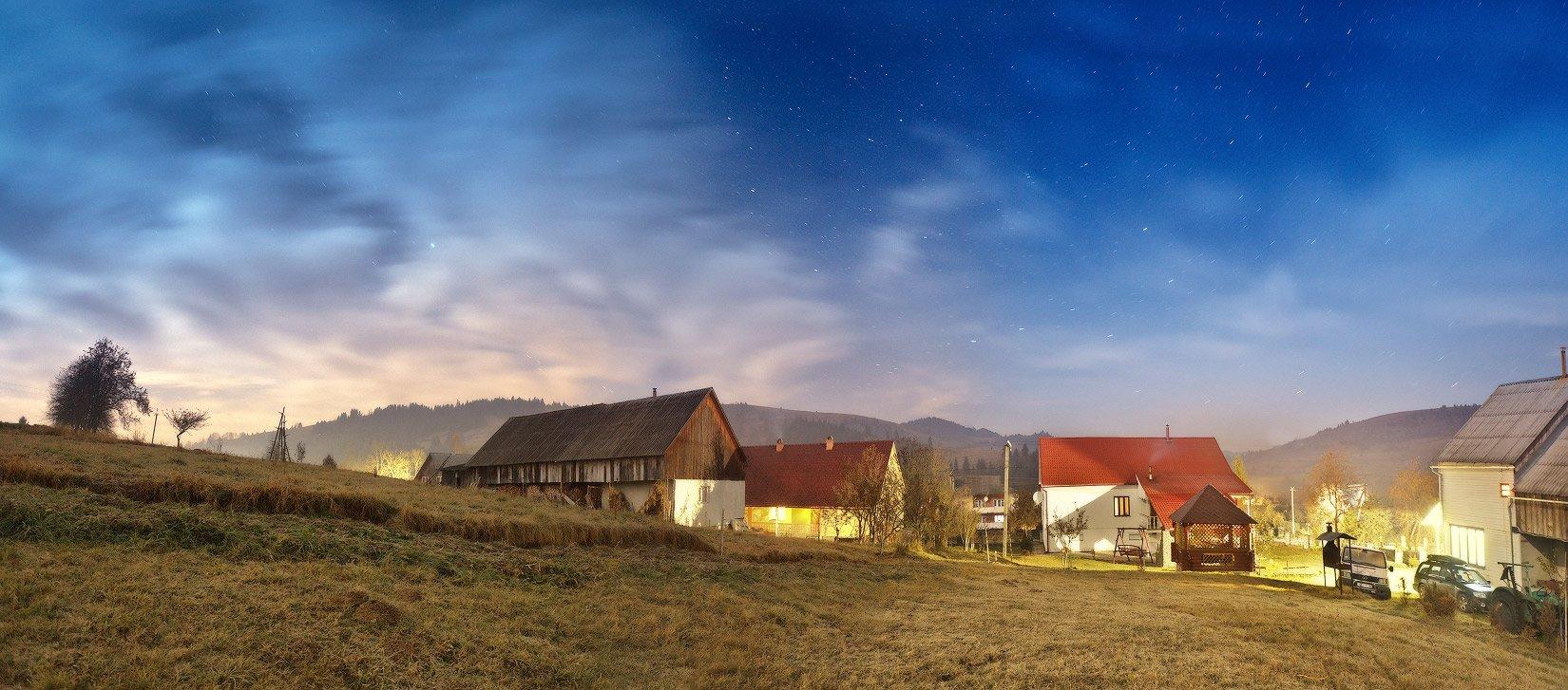 карпаты, ночь, ноябрь, осень, панорама, пилипец, Вейзе Максим